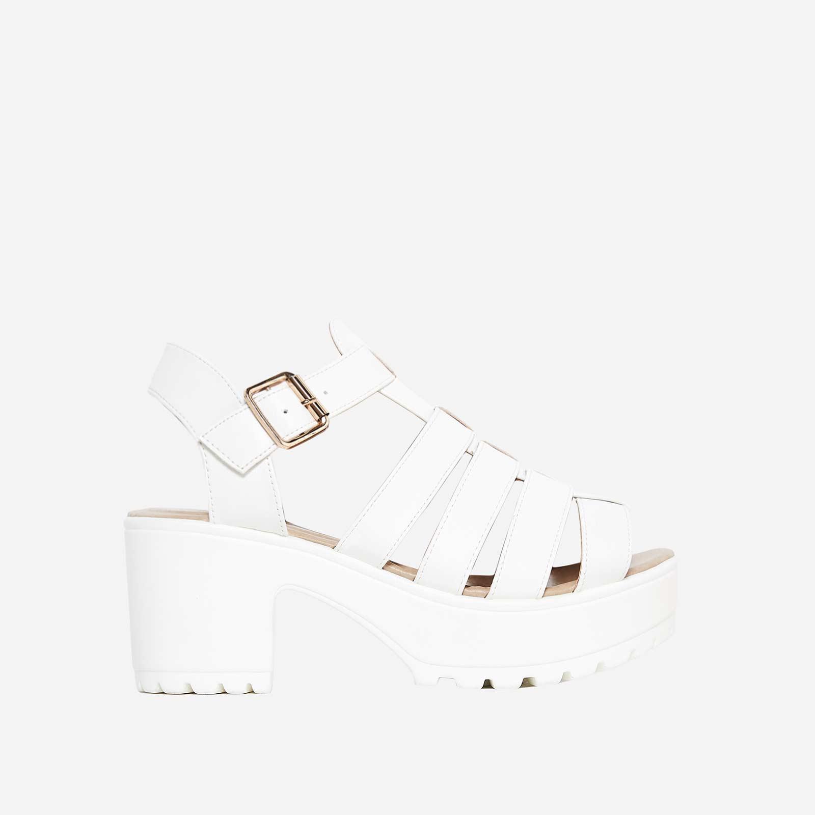 Kerr Platform Sandal In White Faux Leather