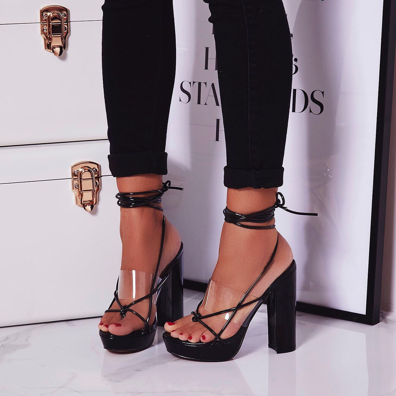 Jamie Lace Up Perspex Platform Heel In Black Patent
