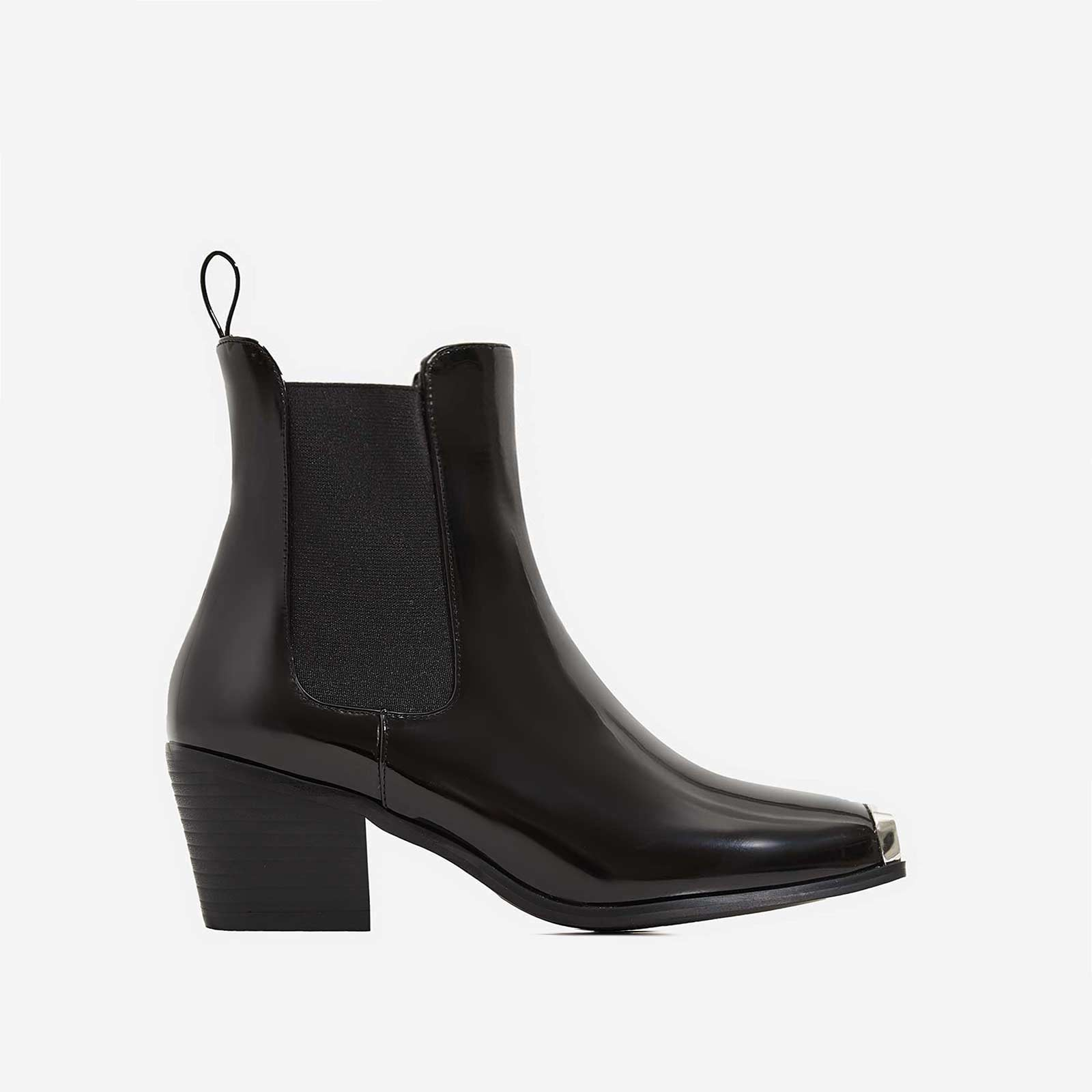 Darcy Toe Cap Western Ankle Boot In Black Patent