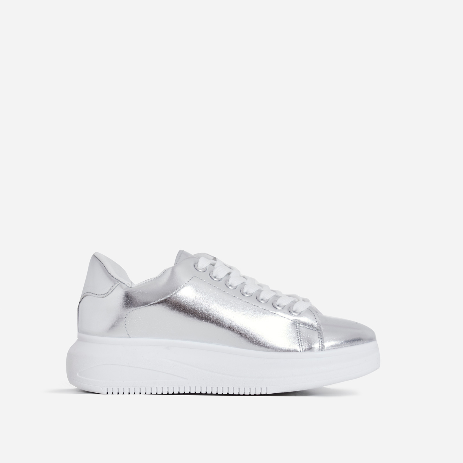 Oracle Chunky Sole Trainer In Silver Faux Leather