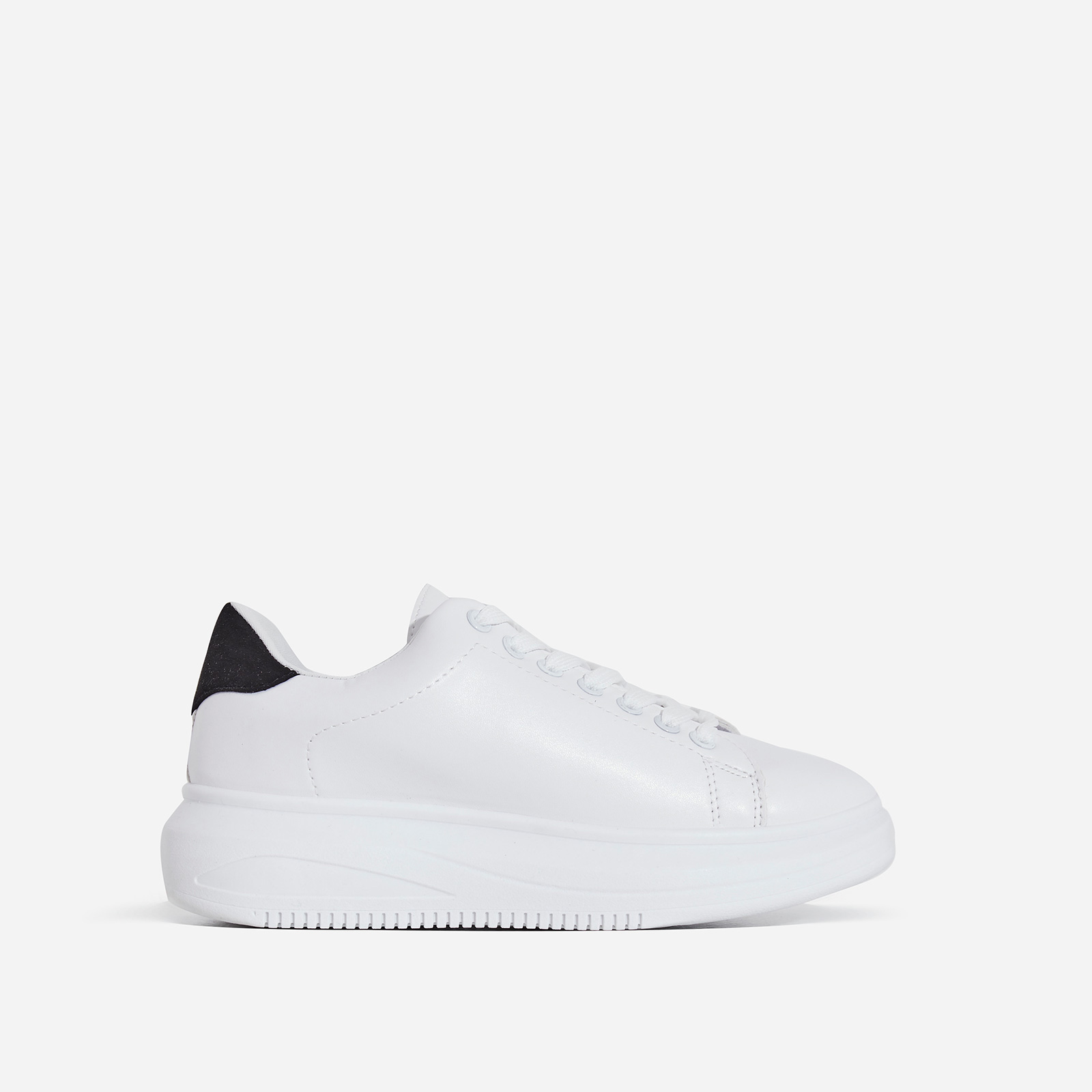 Oracle Chunky Sole Black Heel Tab Trainer In White Faux Leather