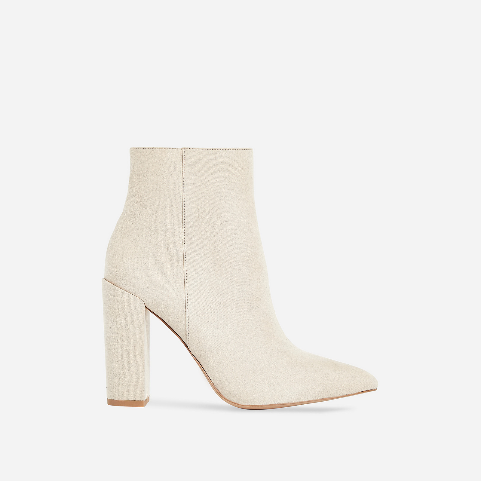 Diana Block Heel Ankle Boot In Nude Faux Suede