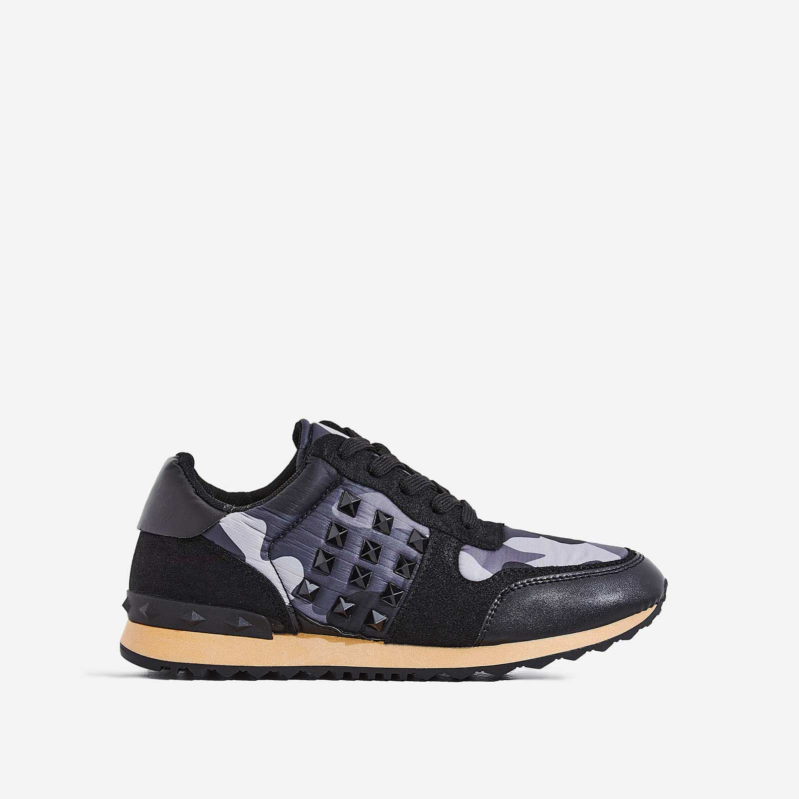 Camillo Studded Detail Trainer In Black Camouflage