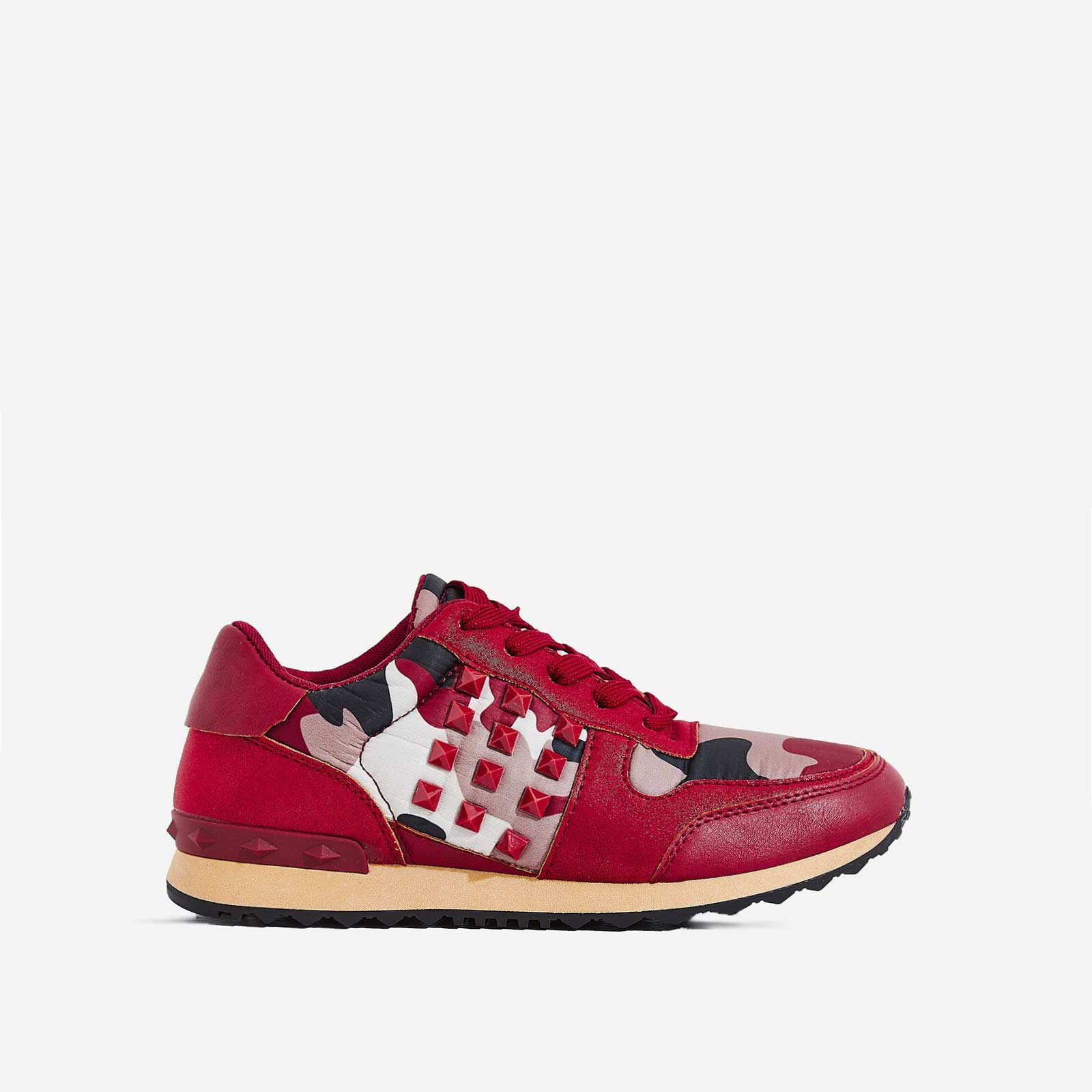 Camillo Studded Detail Trainer In Red Camouflage
