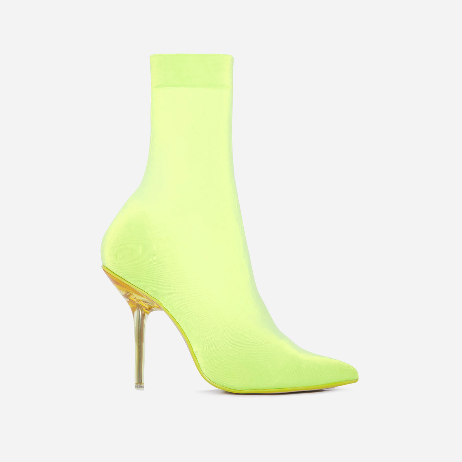 Doll Perspex Ankle Sock Boot In Yellow