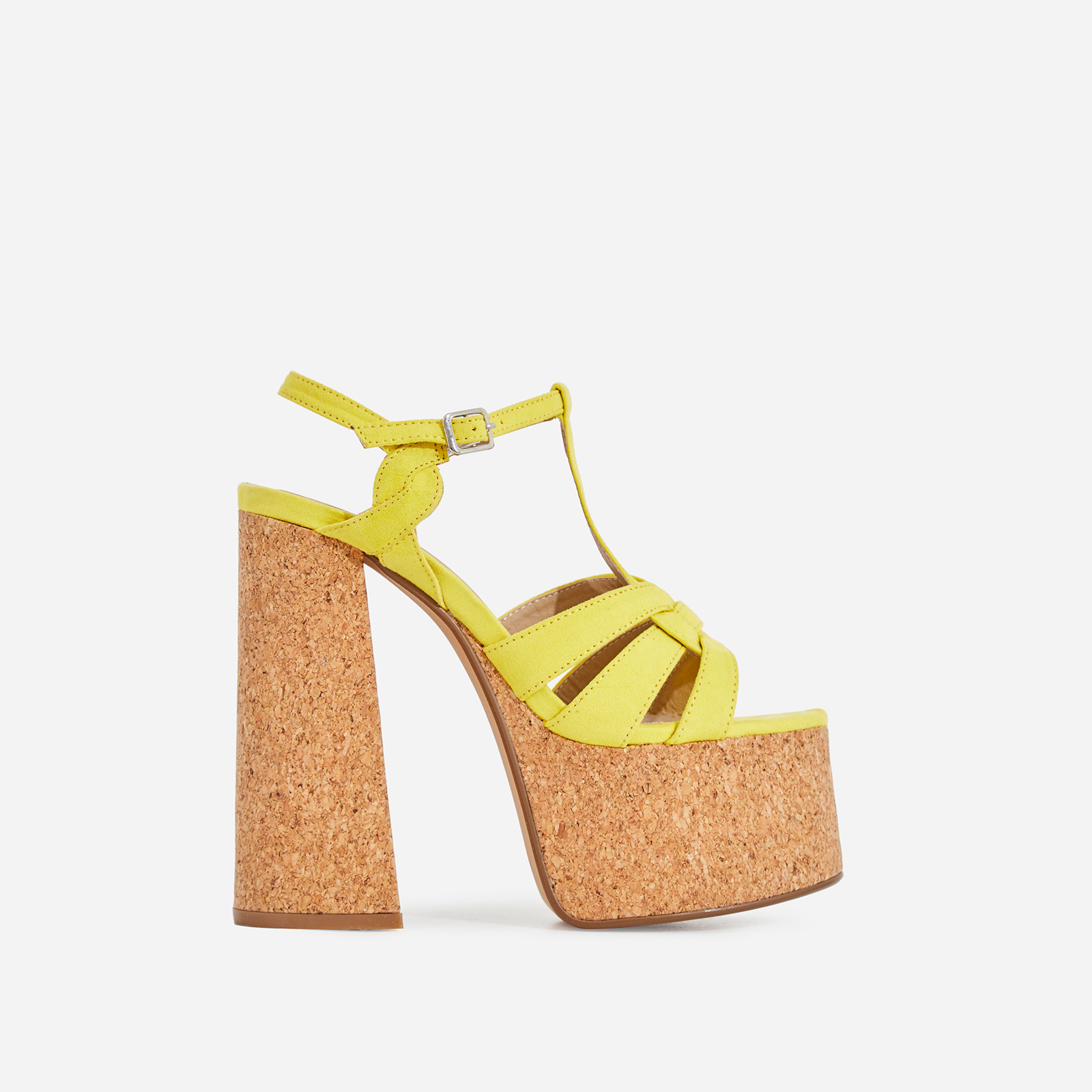 Dora Cork Platform Flared Block Heel In Yellow Faux Suede