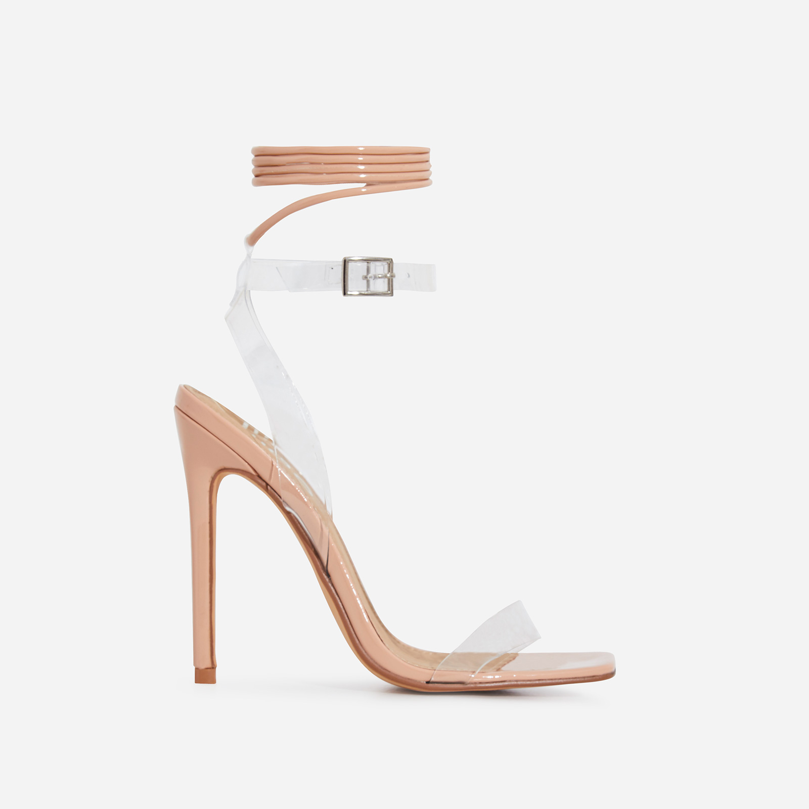 Double Square Toe Perspex Lace Up Heel In Nude Patent