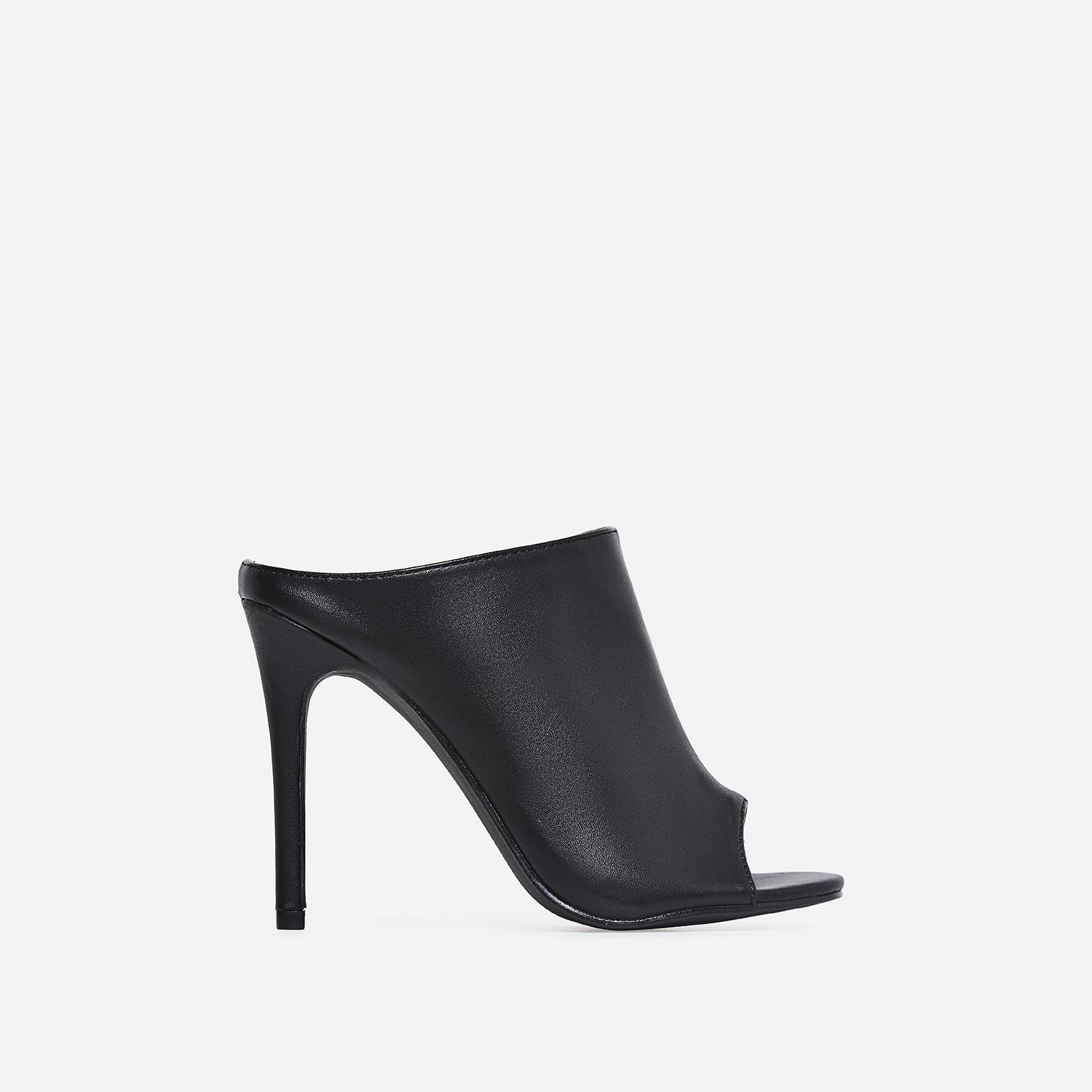 Downtown Peep Toe Mule In Black Faux Leather