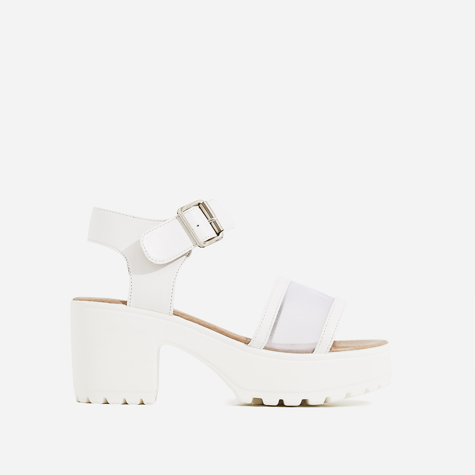 Echo Mesh Detail Sandal In White Faux Leather