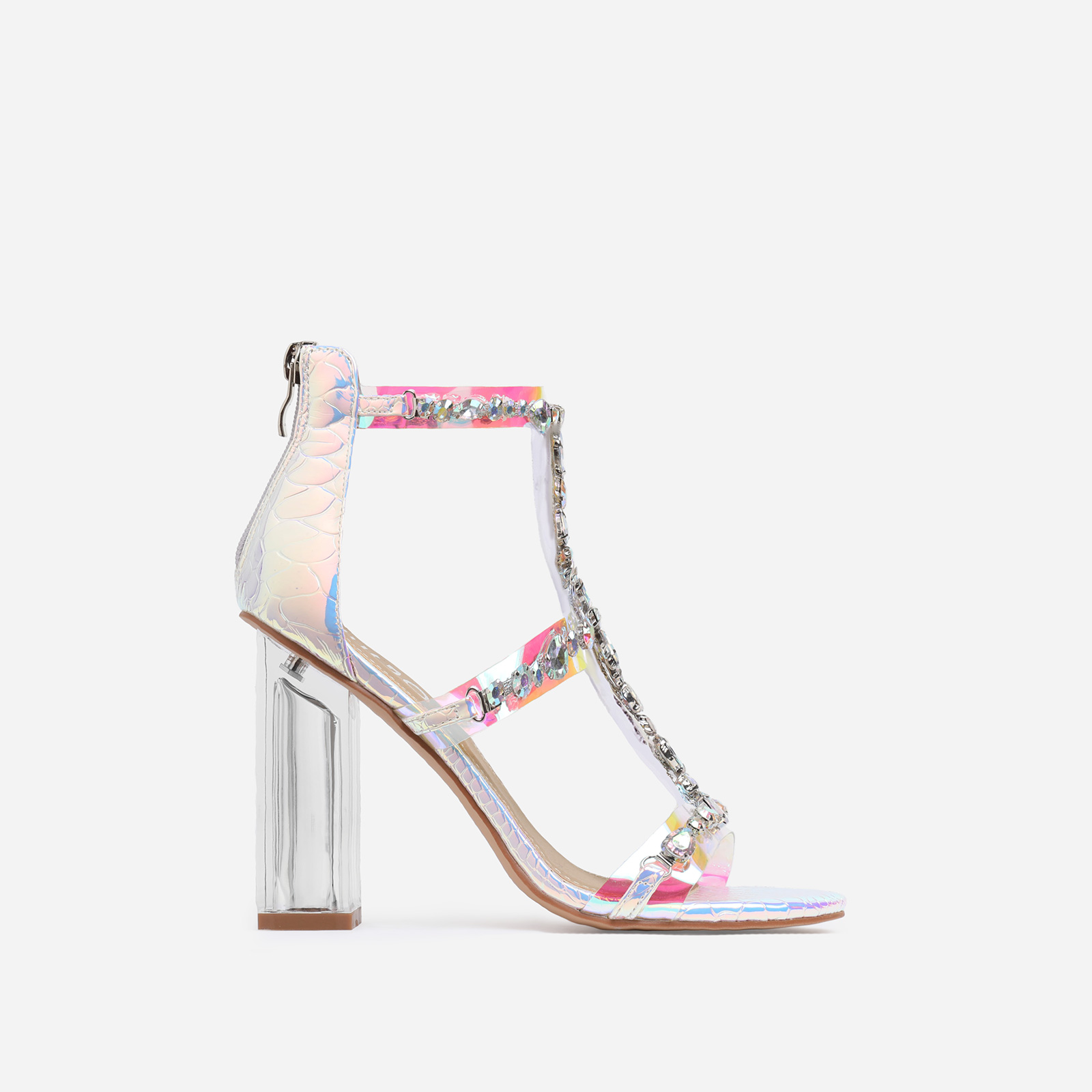 Merryme Jewel Embellished Perspex Block Heel In Silver Holographic Snake Print Faux Leather