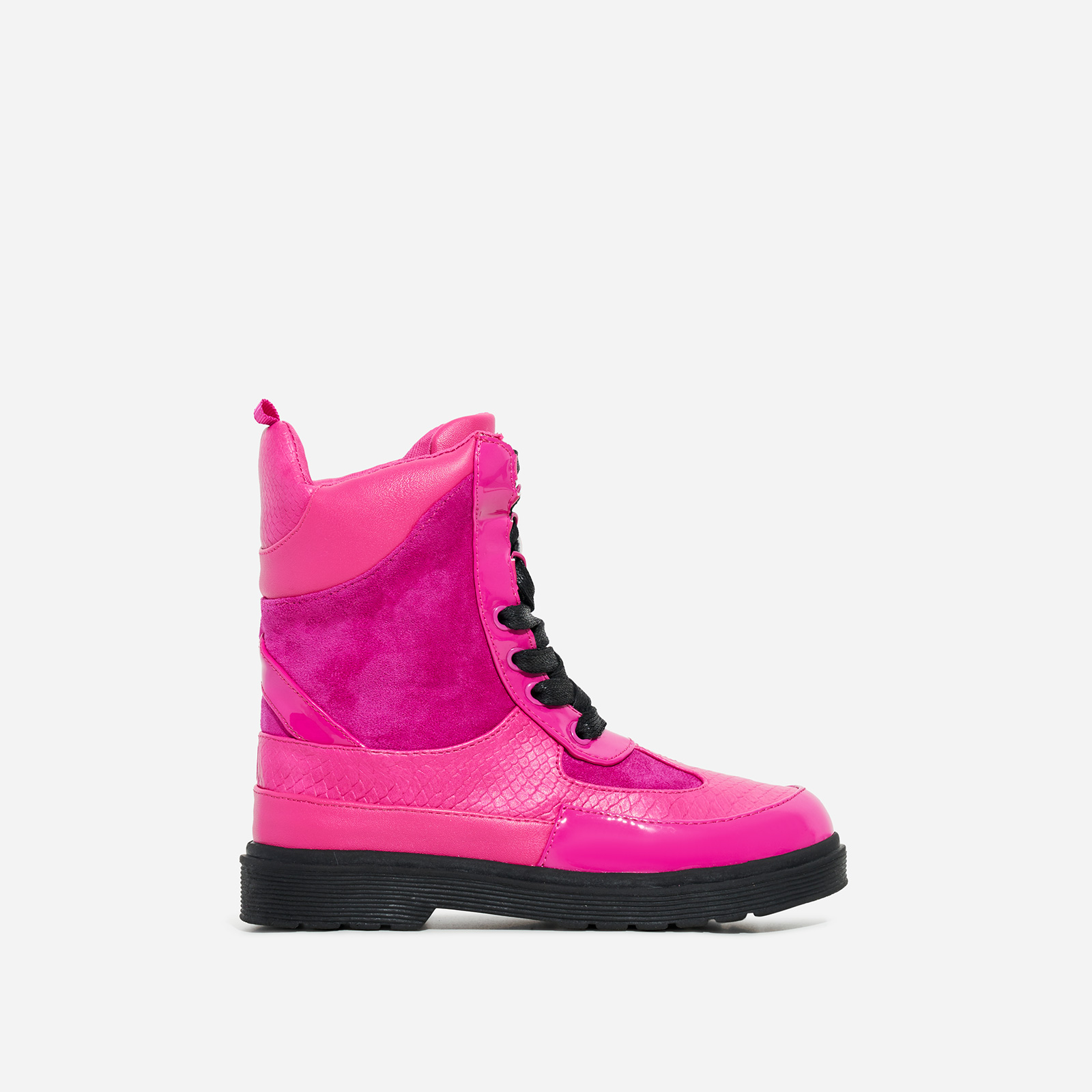 Commander Girl's Chunky Sole Lace Up Ankle Biker Boot In Pink