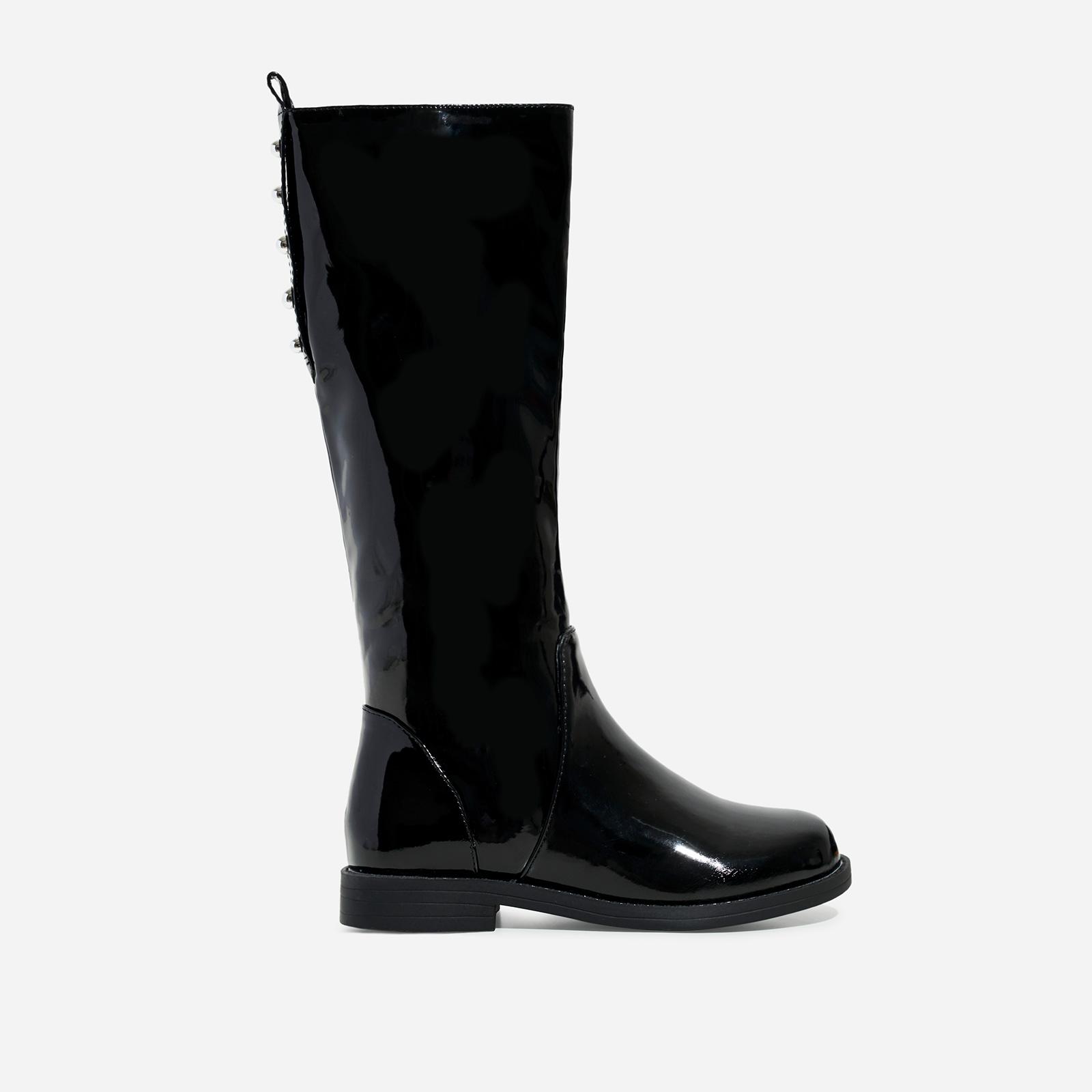 Sunshine Girl's Studded Detail Knee High Long Boot In Black Patent
