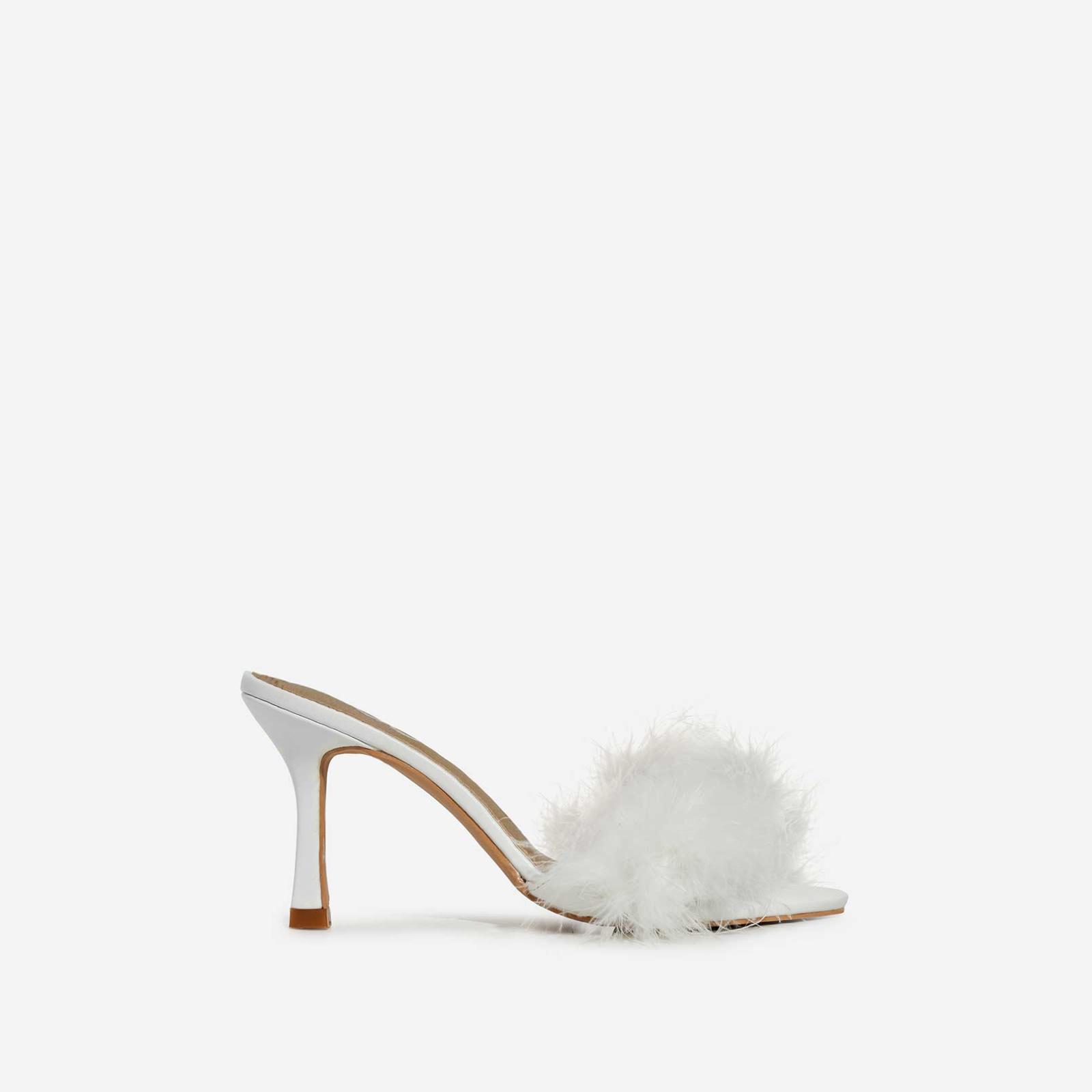 Fairydust Faux Feather Peep Toe Kitten Heel Mule In White Faux Leather