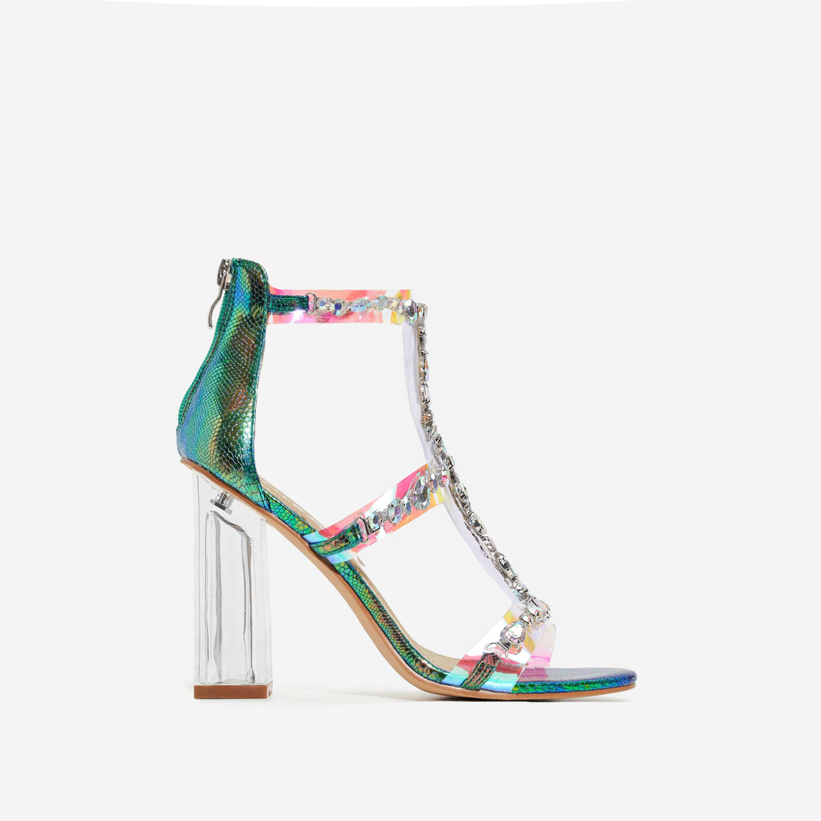 Merryme Jewel Embellished Clear Perspex Block Heel In Green Holographic Snake Print Faux Leather