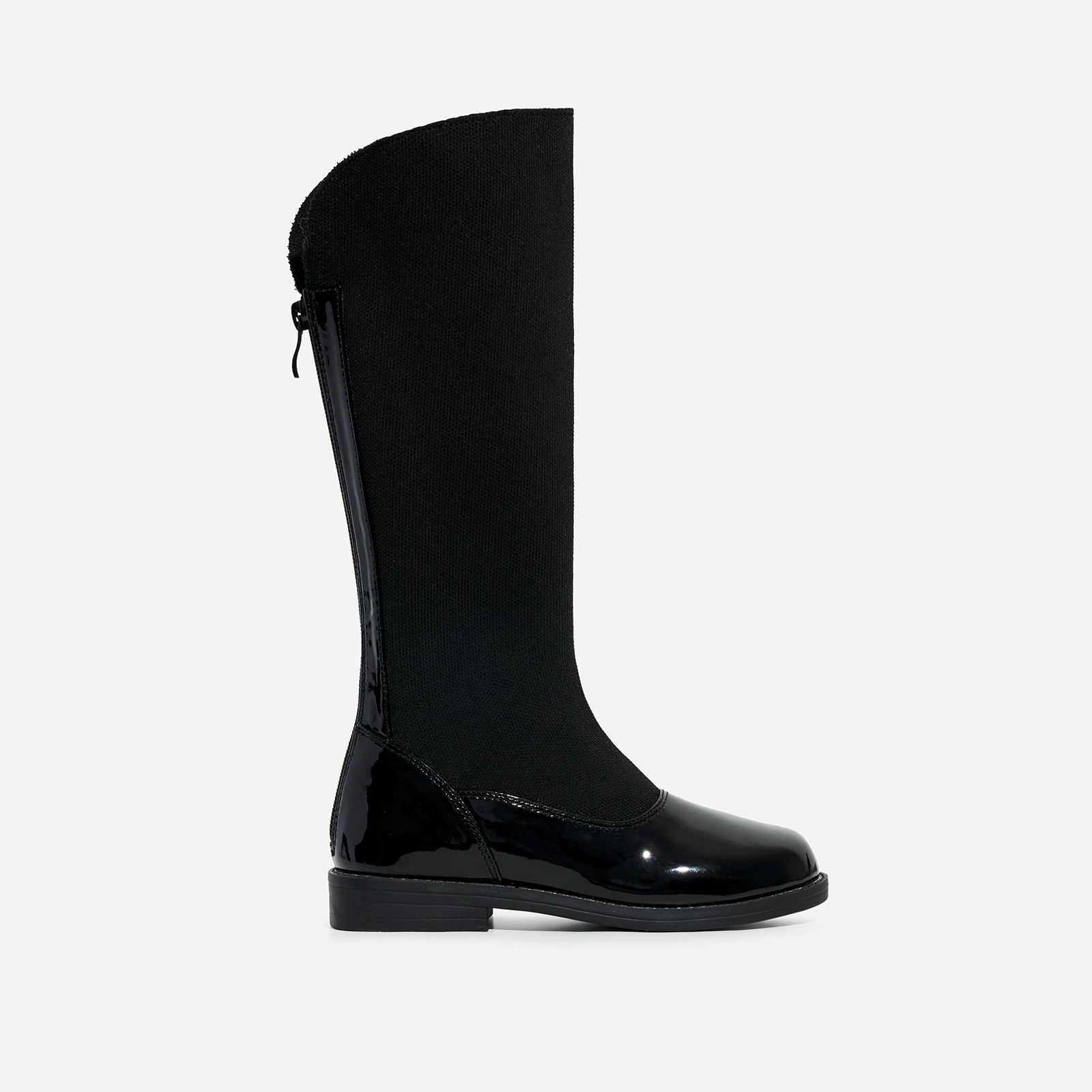 Bunny Girl's Knitted Detail Knee High Long Boot In Black Patent