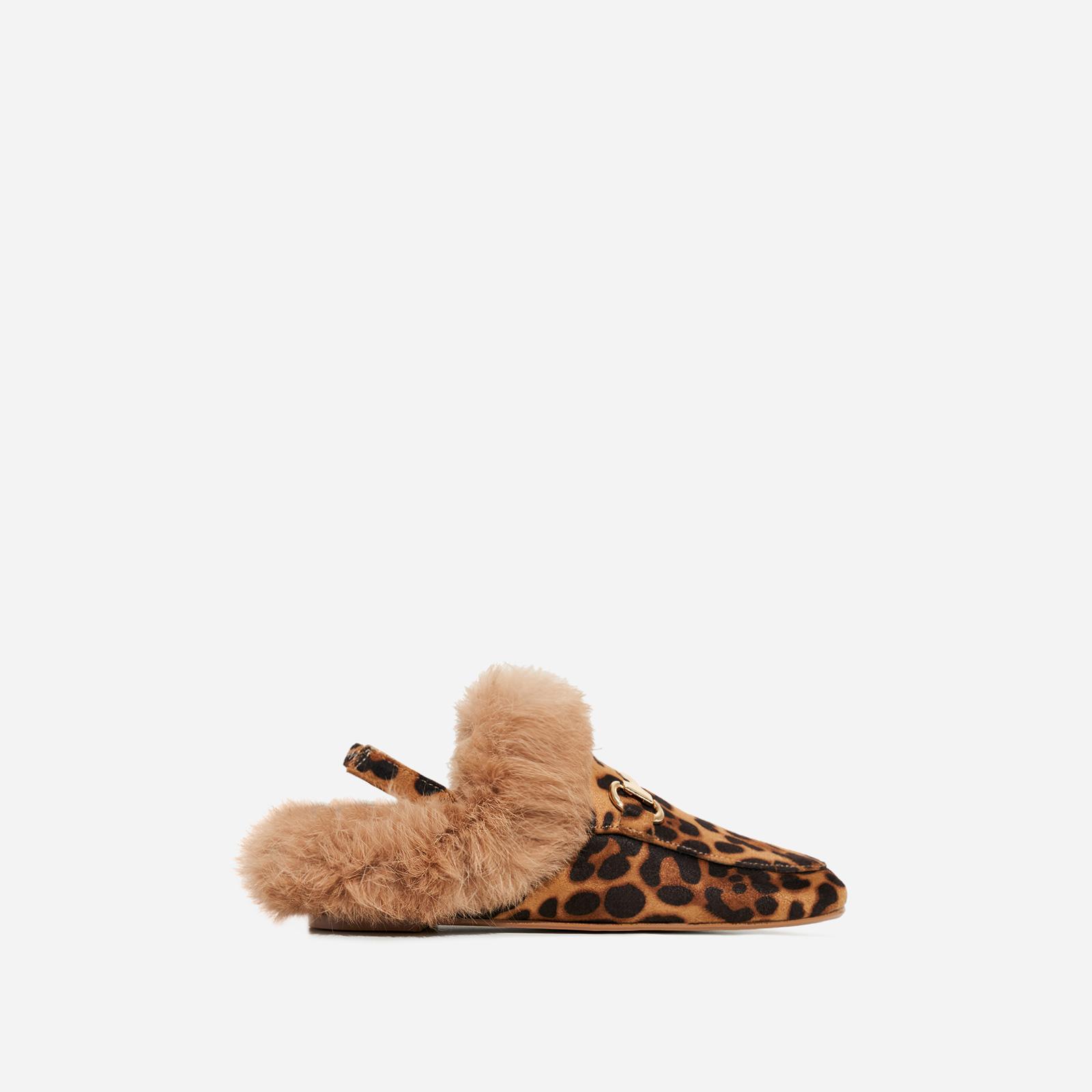 Rio Girl's Sling Back Faux Fur Flat Mule In Tan Leopard Print Faux Suede
