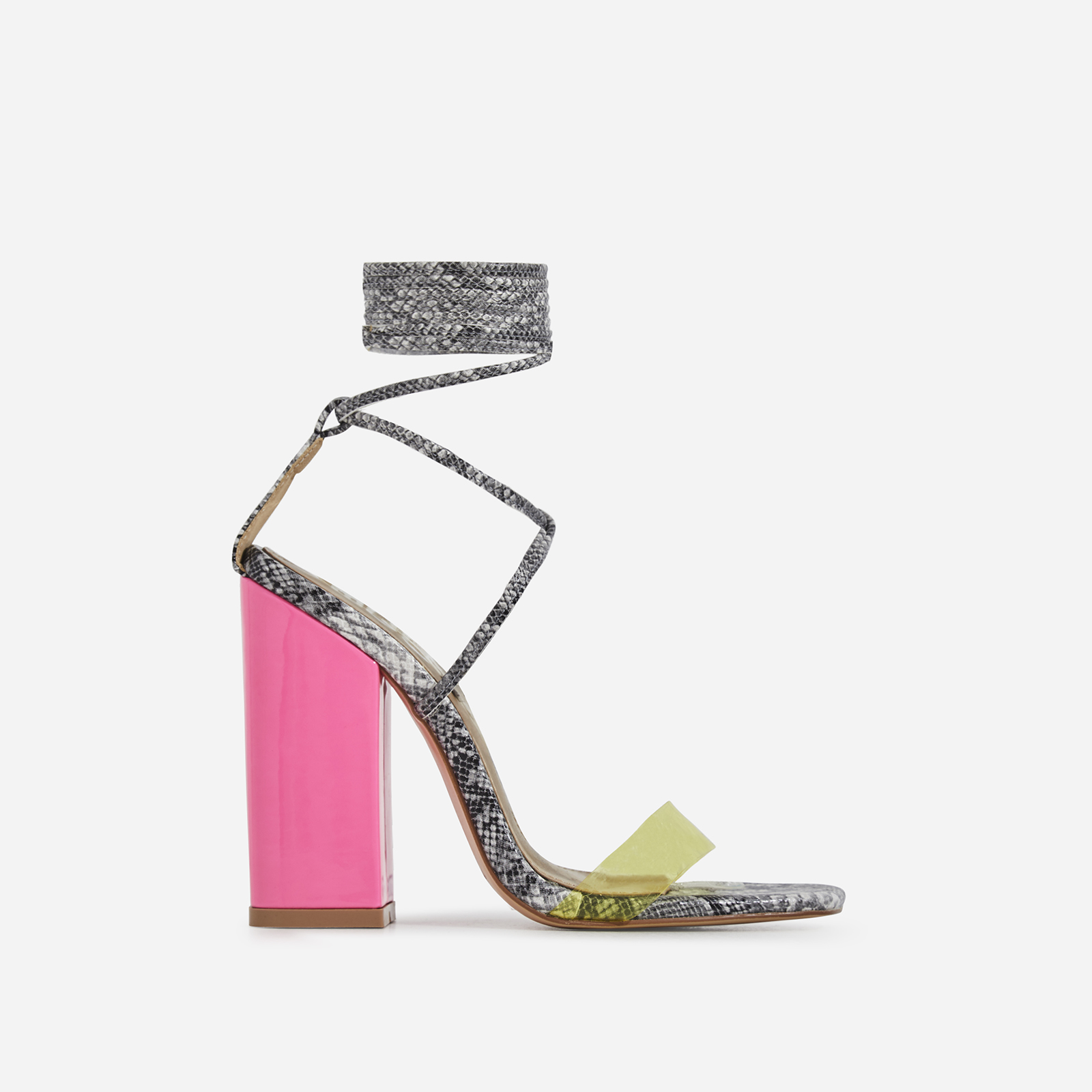 Elini Patent Block Heel Perspex Lace Up Heel In Grey Snake Print Faux Leather