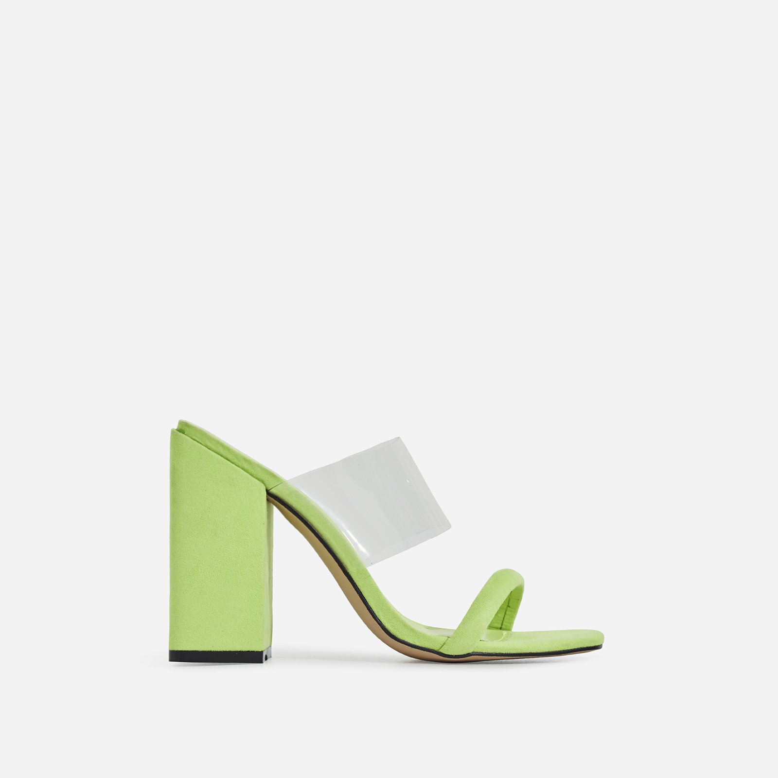 Elle Perspex Block Heel Mule In Lime Green Faux Suede