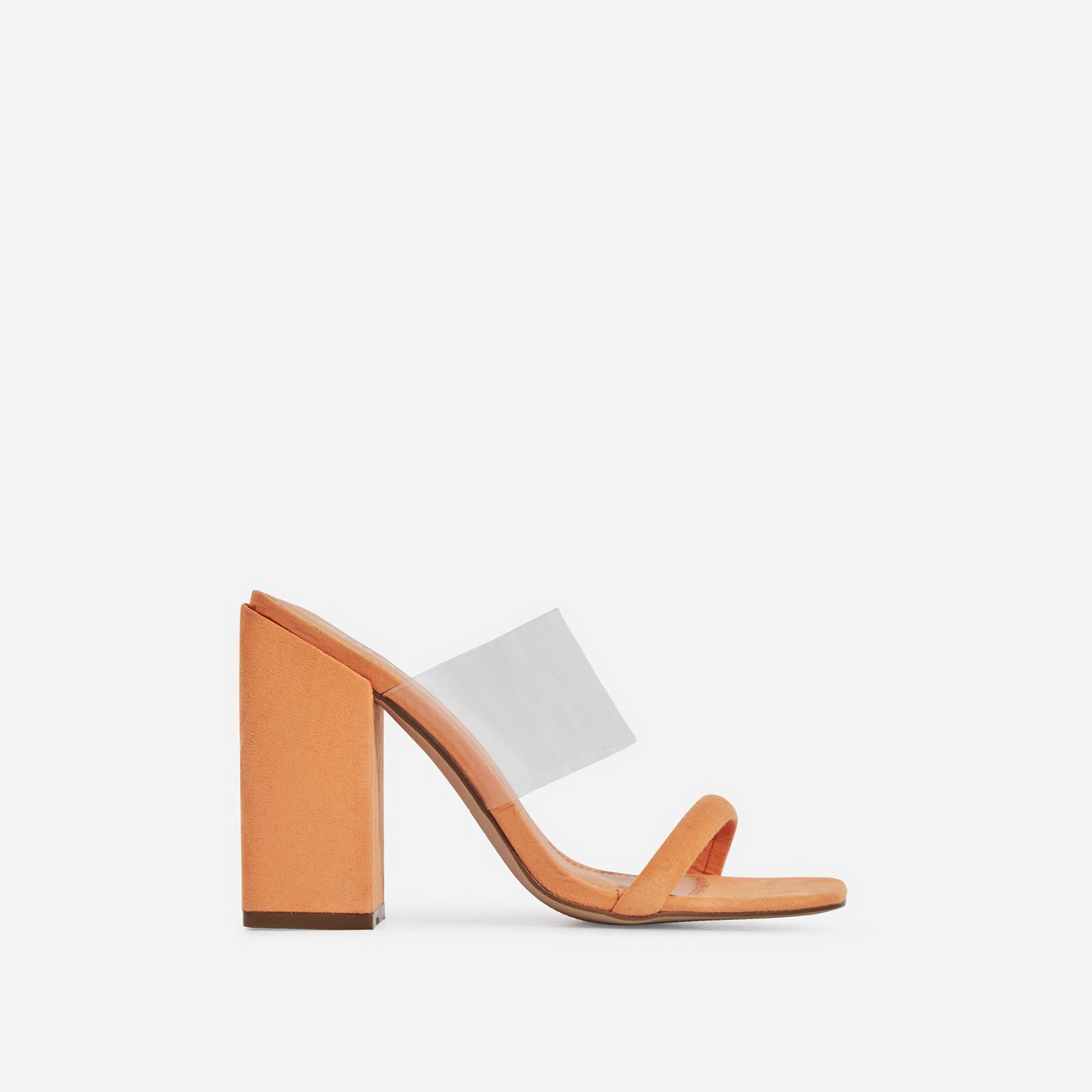 Elle Perspex Block Heel Mule In Orange Faux Suede
