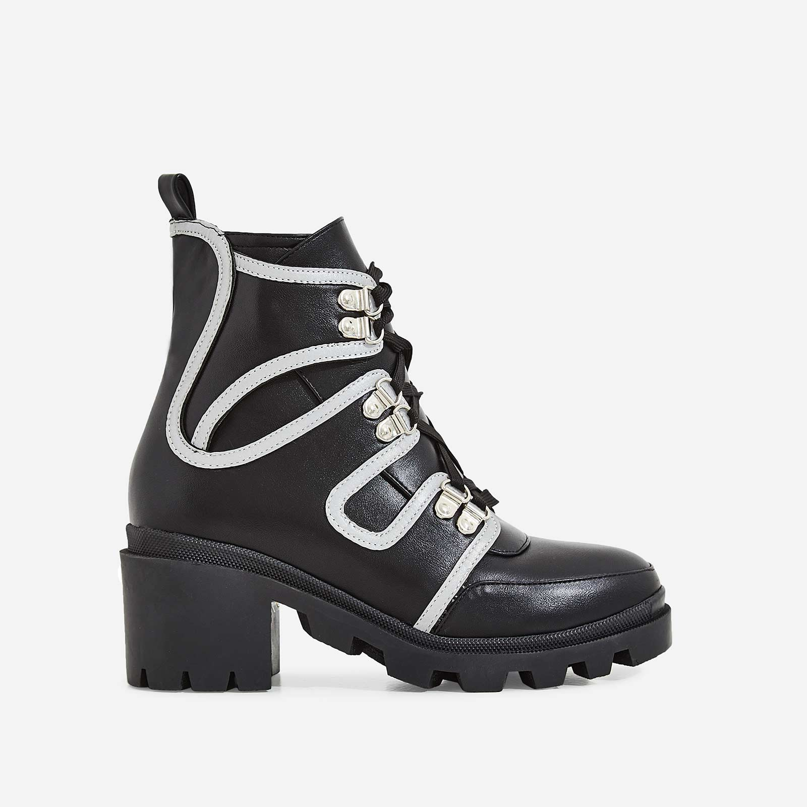 Ellis Lace Up Reflective Trim Ankle Biker Boot In Black Faux Leather