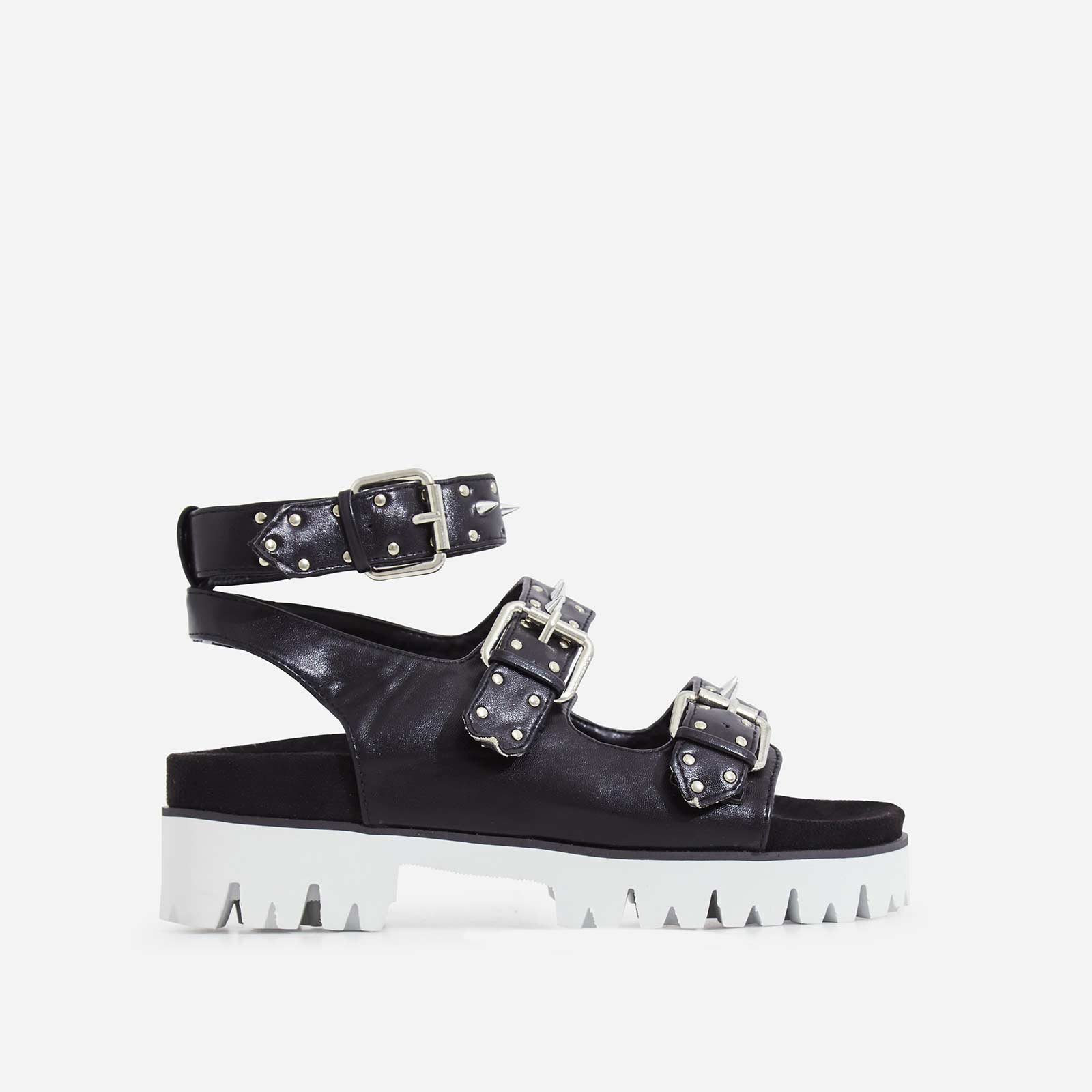 Elva Studded Detail White Chunky Sole Sandal In Black Faux Leather