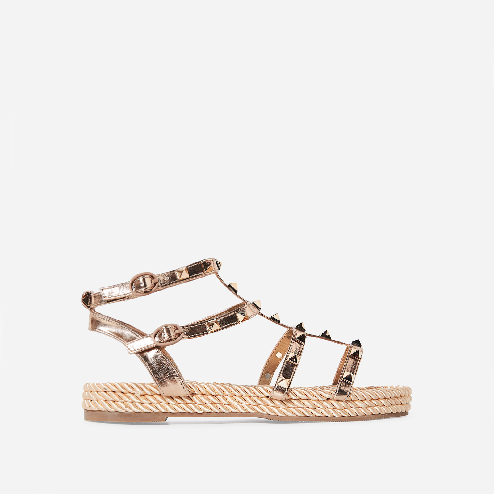 c2ee4871ec4e Emery Studded Detail Rope Espadrille In Rose Gold Faux Leather