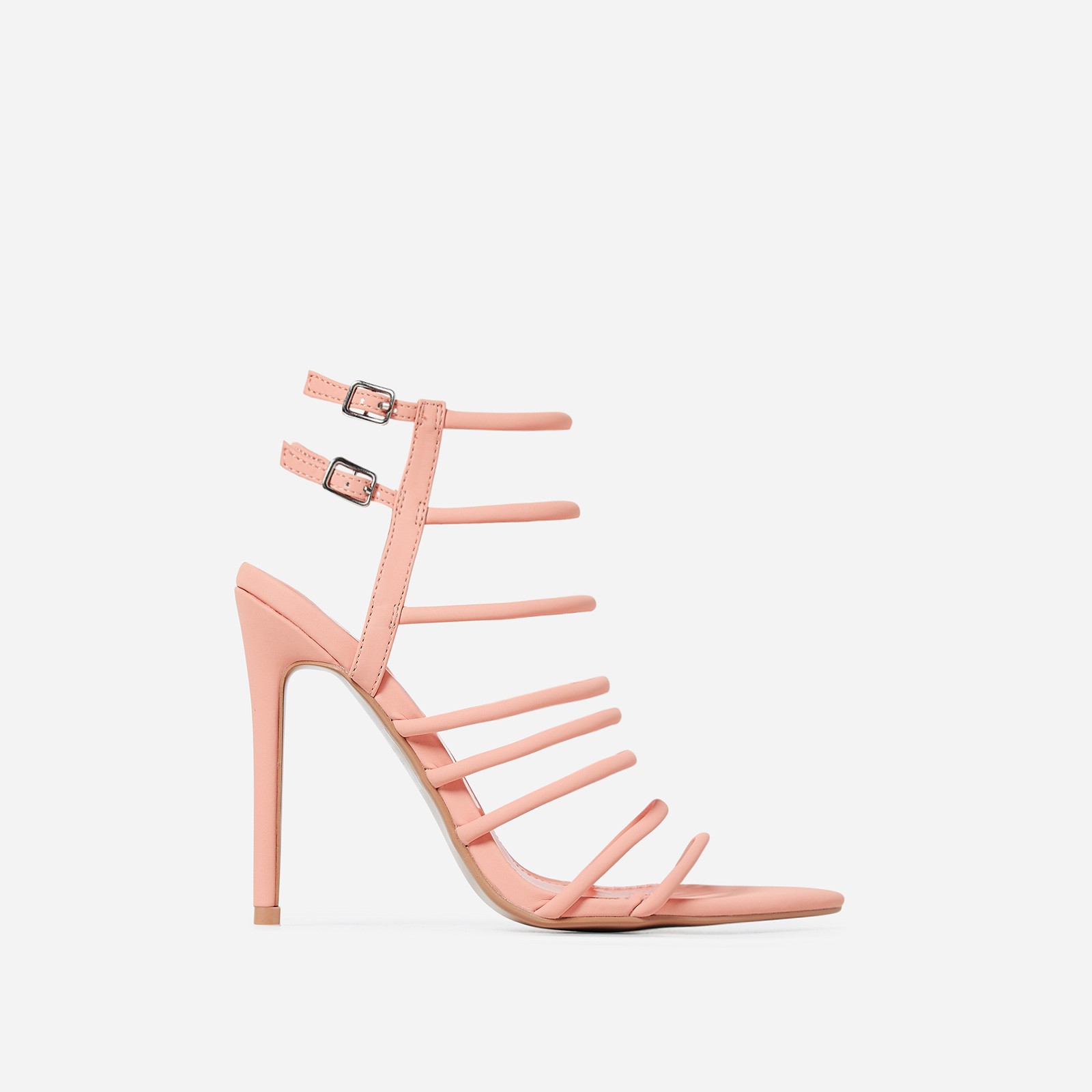 Endless Lace Up Heel In Orange Faux Leather