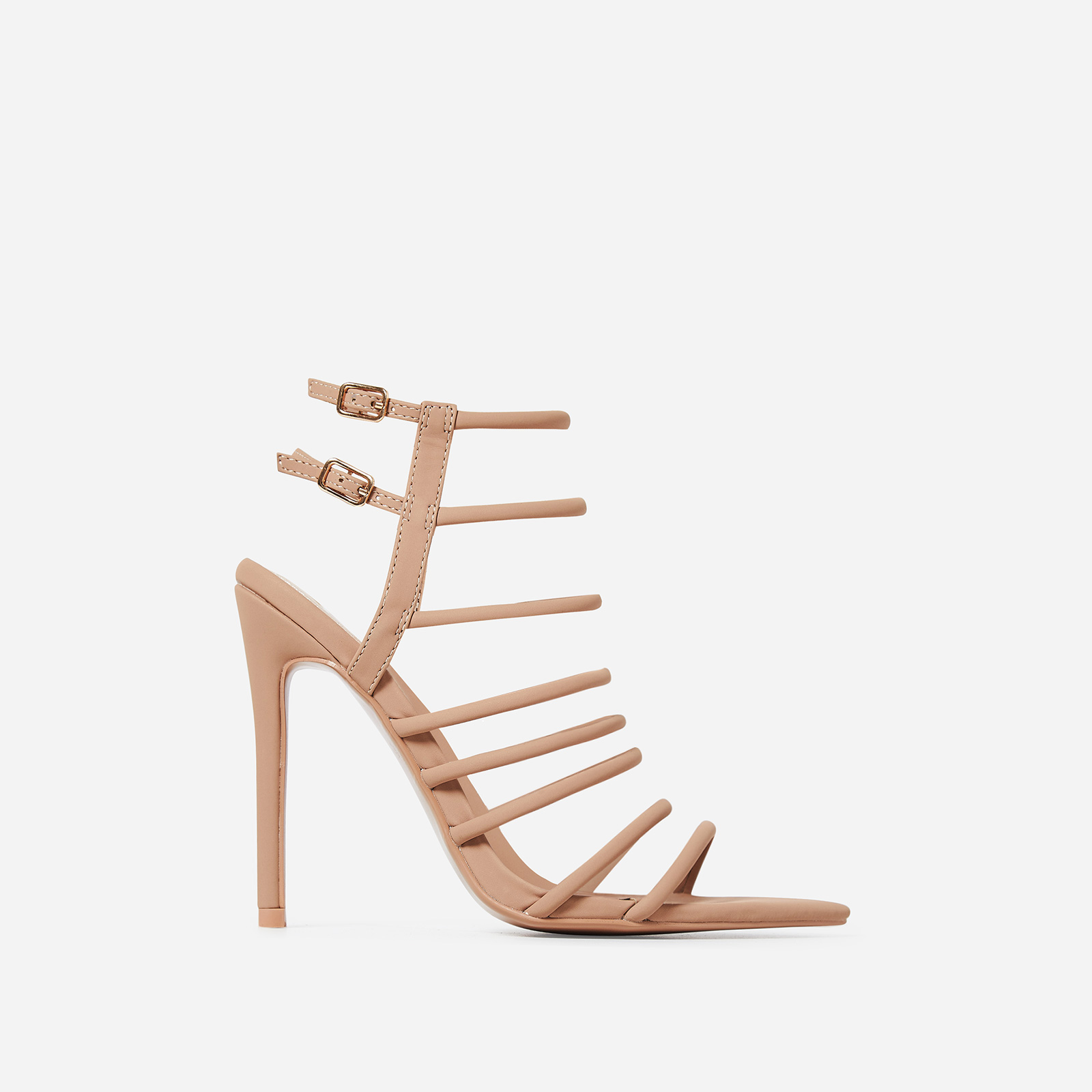 Endless Lace Up Heel In Nude Faux Leather