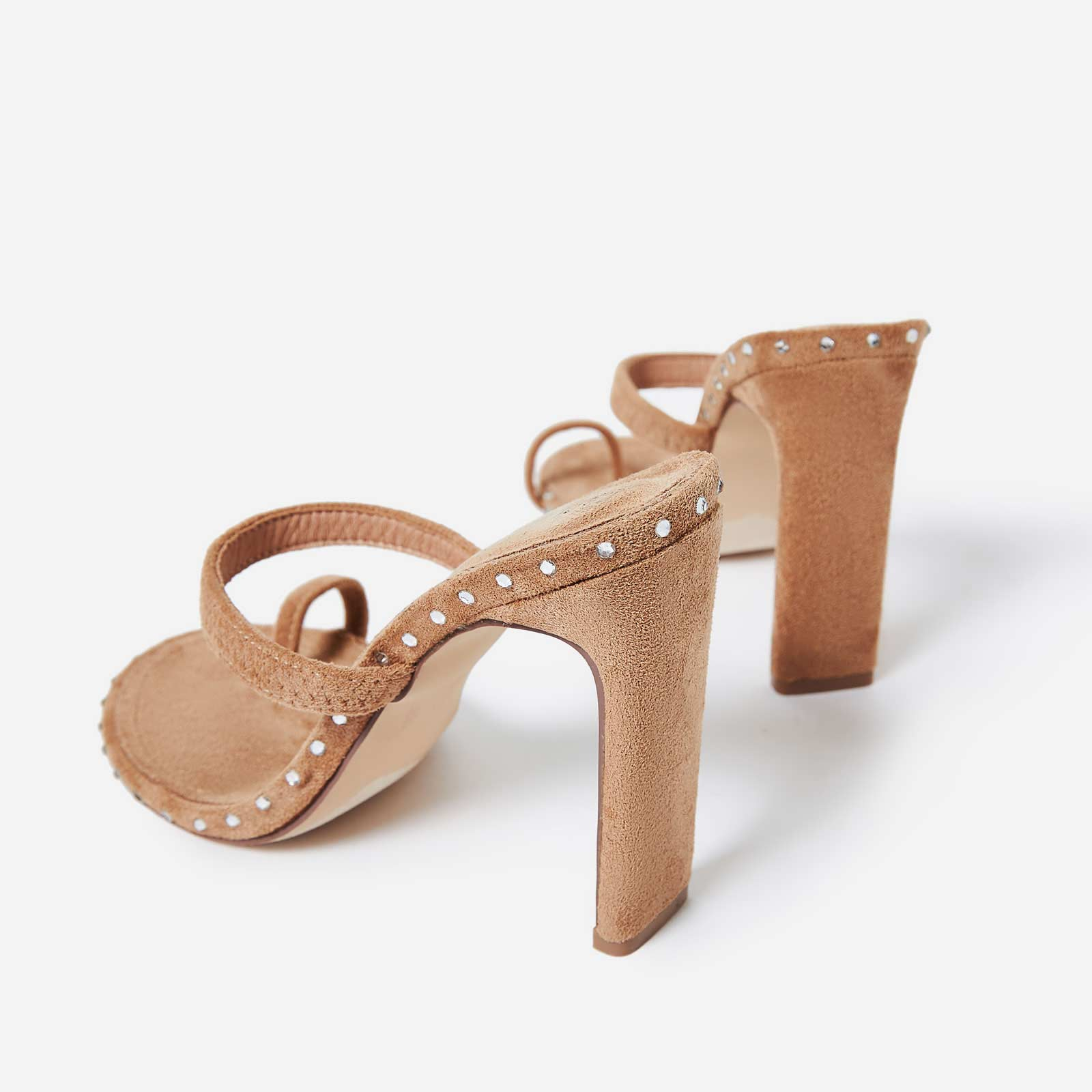 Envy Diamante Detail Toe Strap Mule In Nude Faux Suede