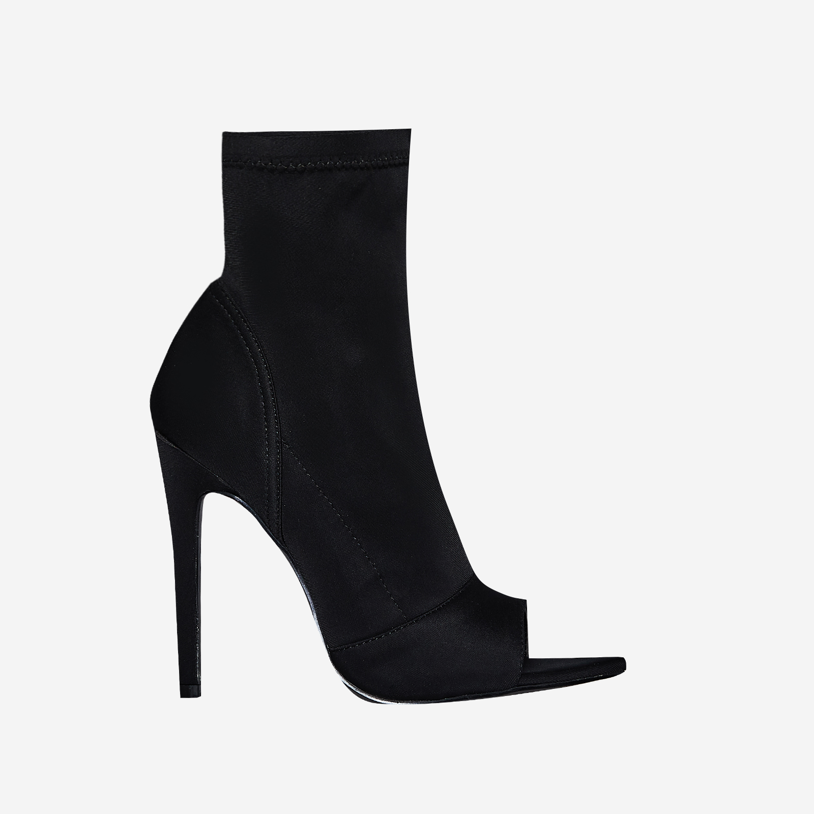 Esme Pointed Peep Toe Sock Boot In Black Lycra