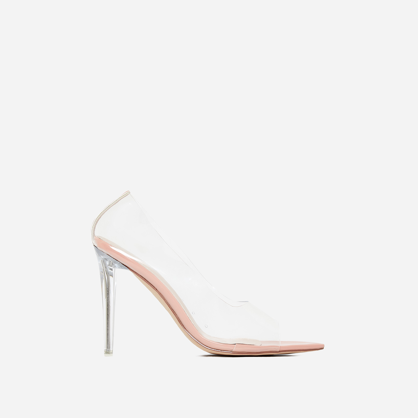 Ethereal Peep Toe Perspex Court Heel In Nude Patent