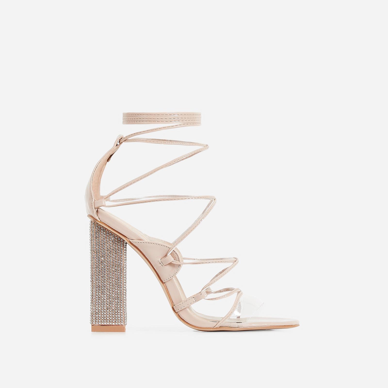 Exotic Perspex Lace Up Diamante Block Heel In Nude Patent