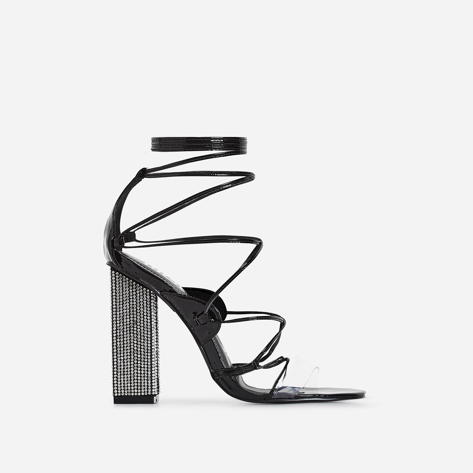 Exotic Perspex Lace Up Diamante Block Heel In Black Patent