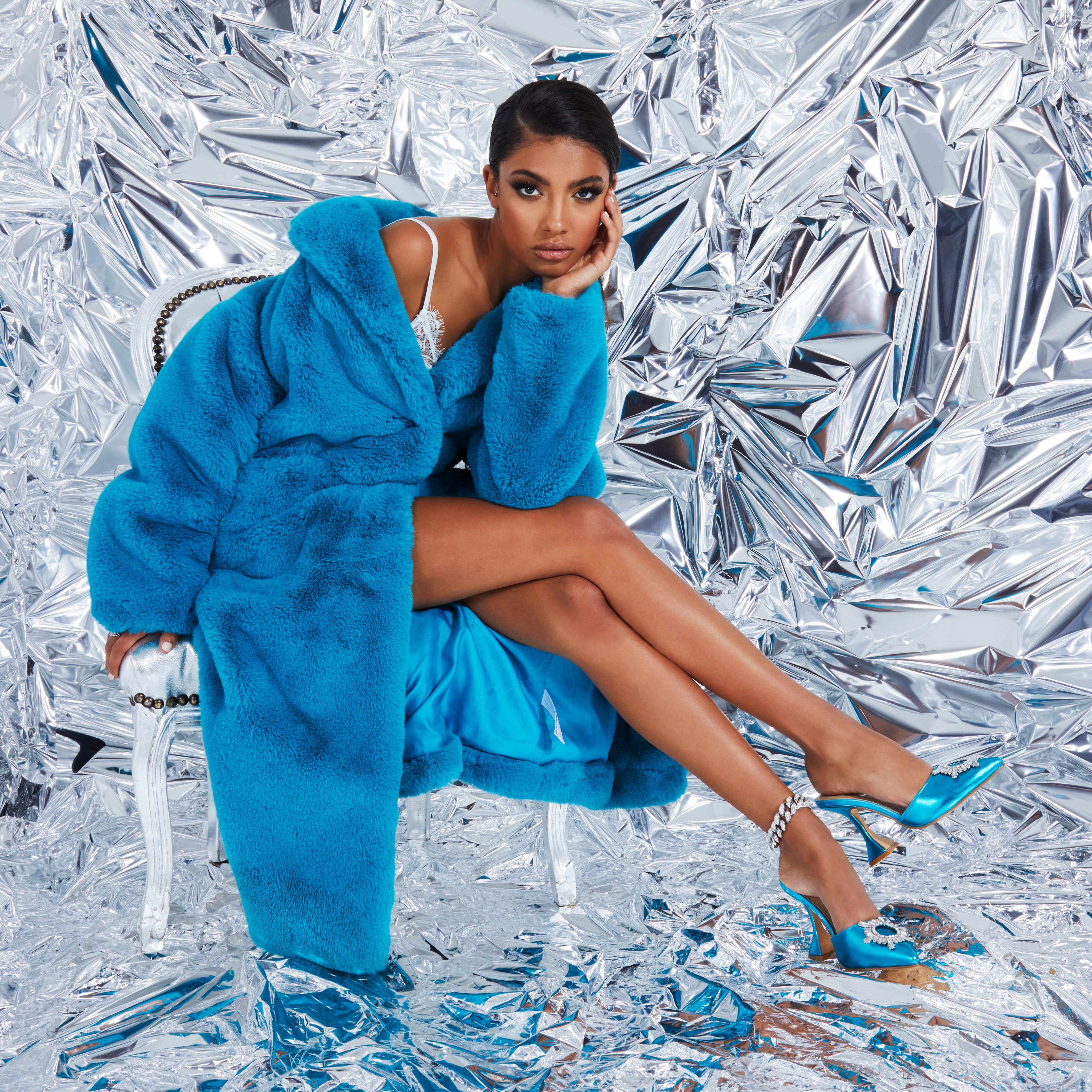 Moonlight Diamante Detail Pyramid Heel Mule In Metallic Ice Blue Faux Leather