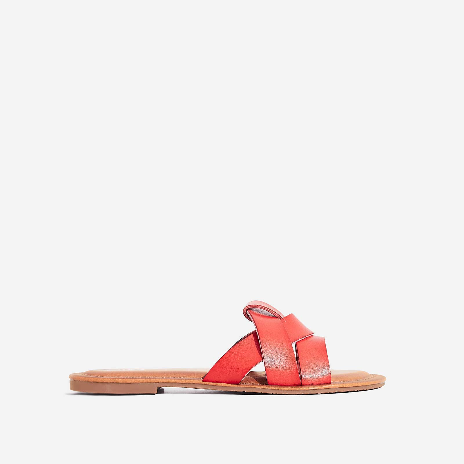 Billie Flat Sandal In Red Faux Leather