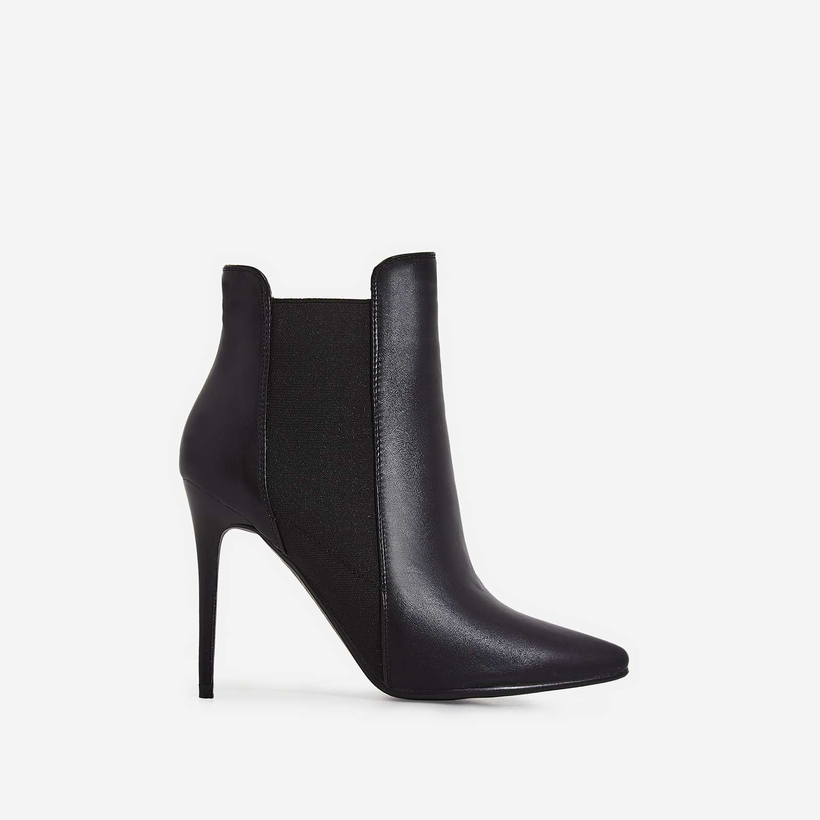 Faye Elasticated Ankle Boot In Black Faux Leather