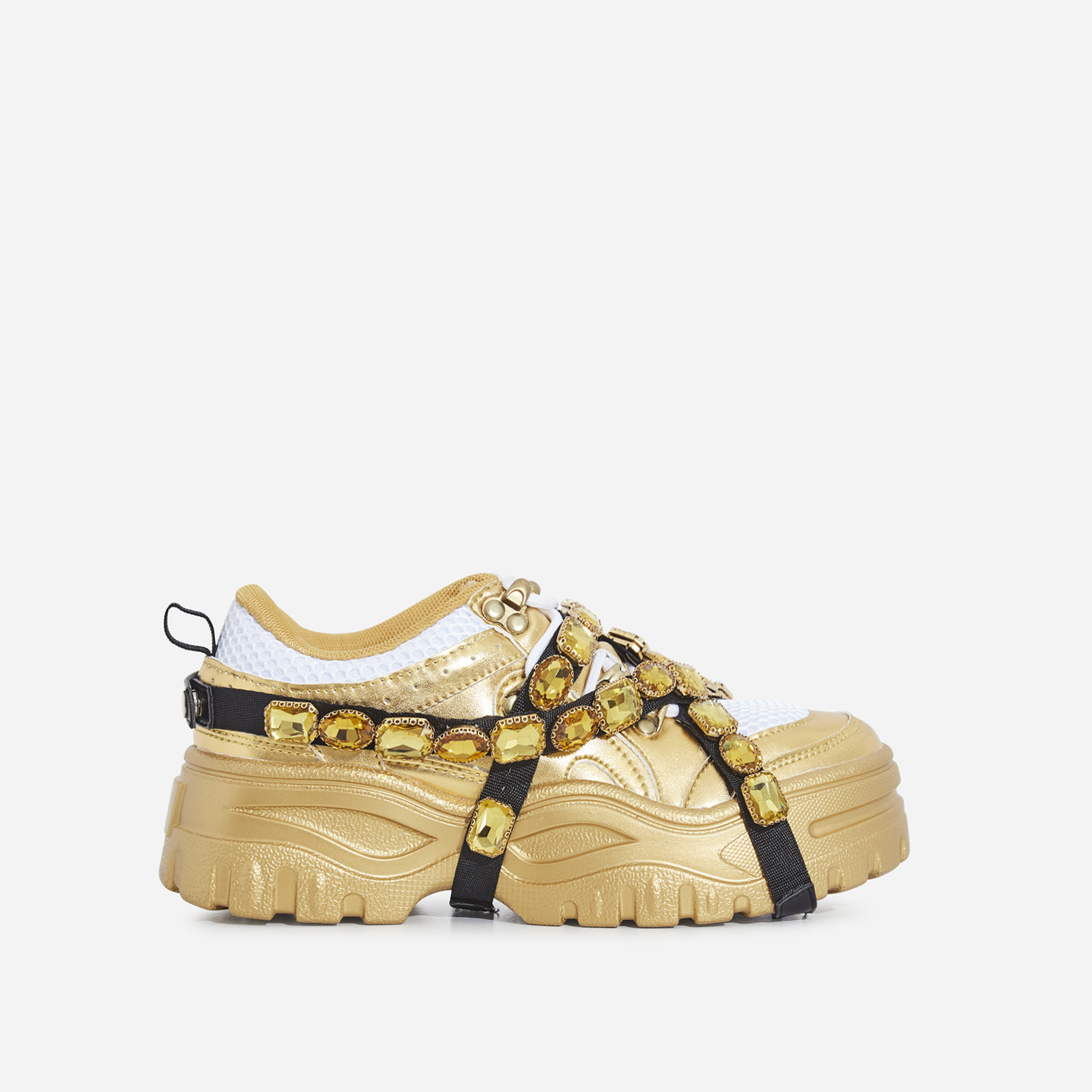 Fever Gem Embellished Trainer In Gold Faux Leather