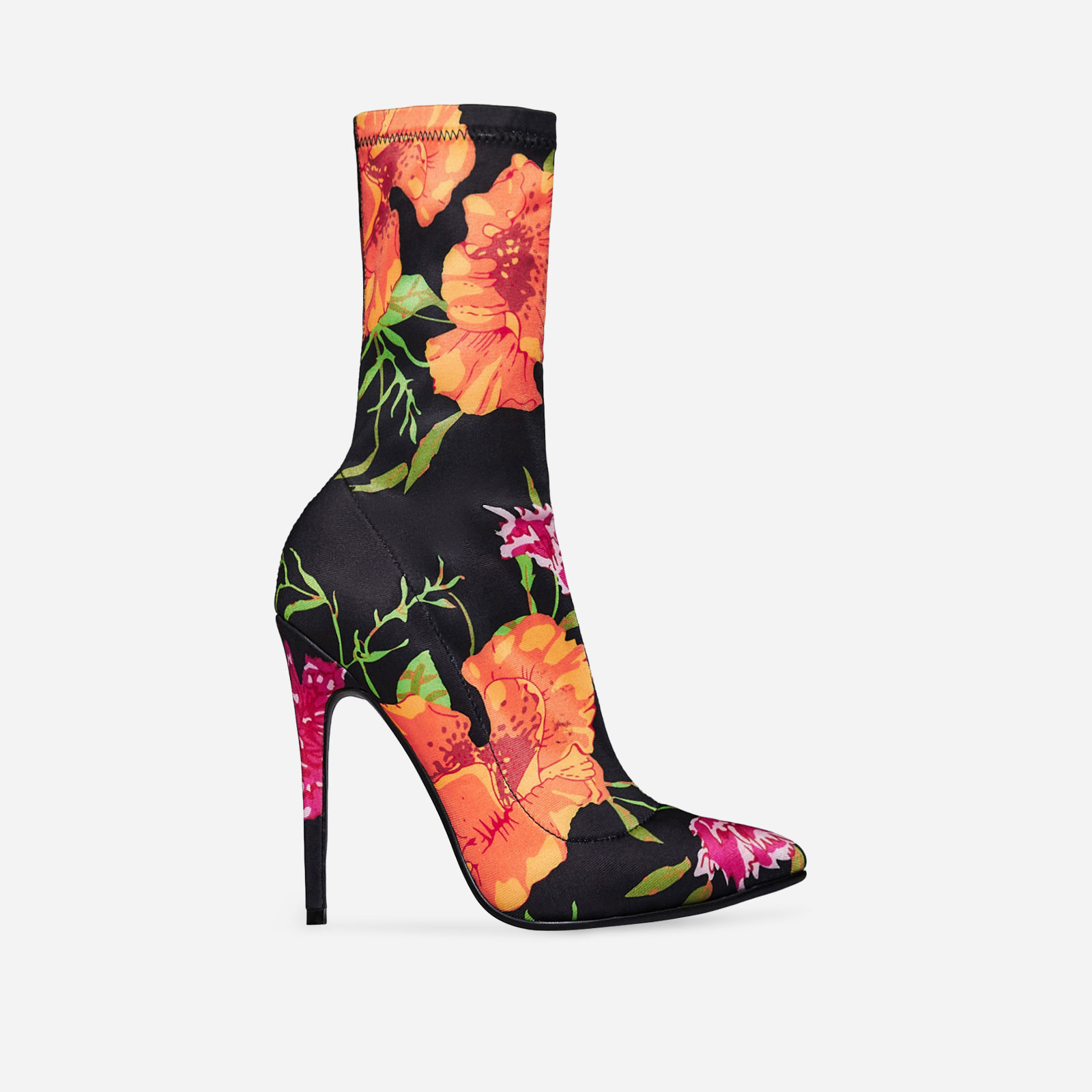 Fiona Pointed Toe Sock Boot In Floral Print Lycra