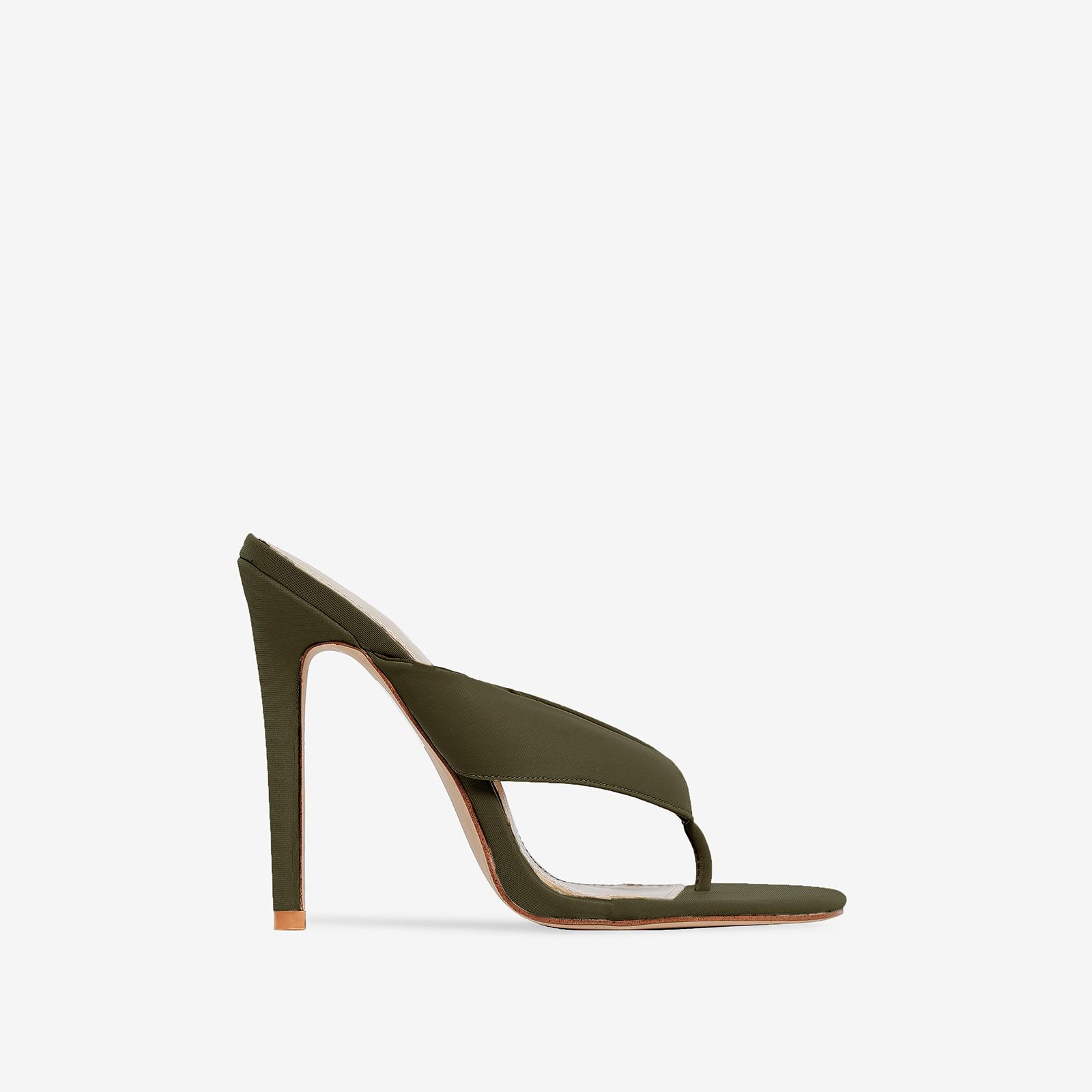 Fran Flip Flop Heel In Khaki Lycra