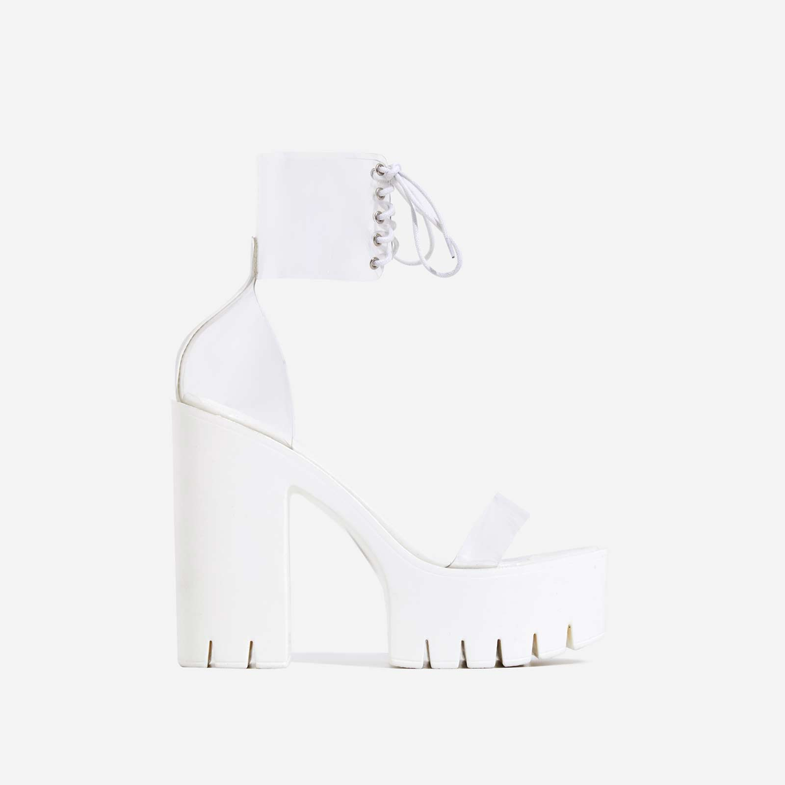 Frenzy Lace Up Perspex Platform Block Heel In White