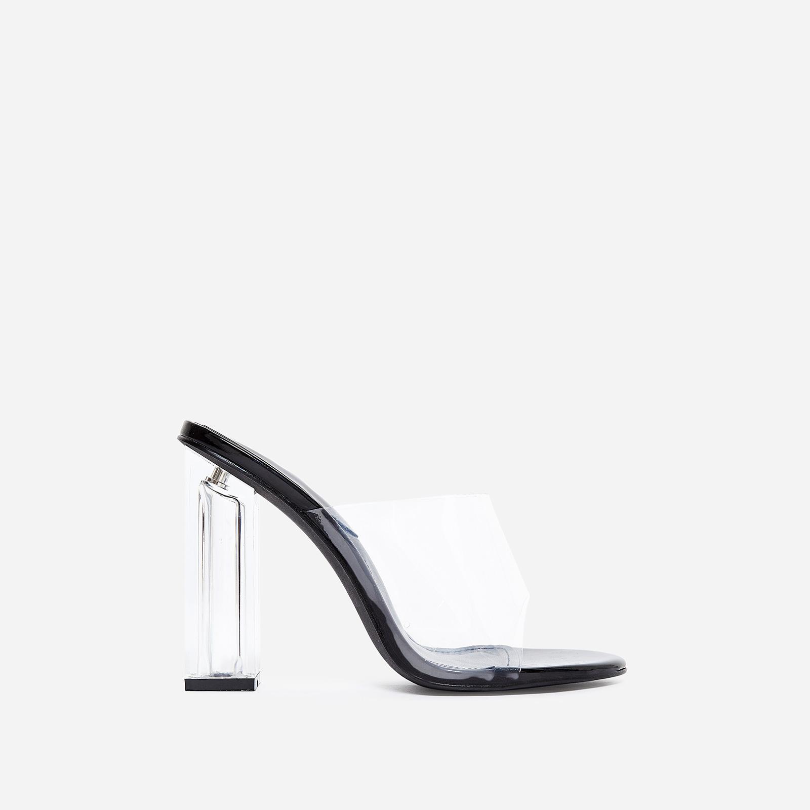 Fusion Perspex Block Heel Peep Toe Mule In Black Patent
