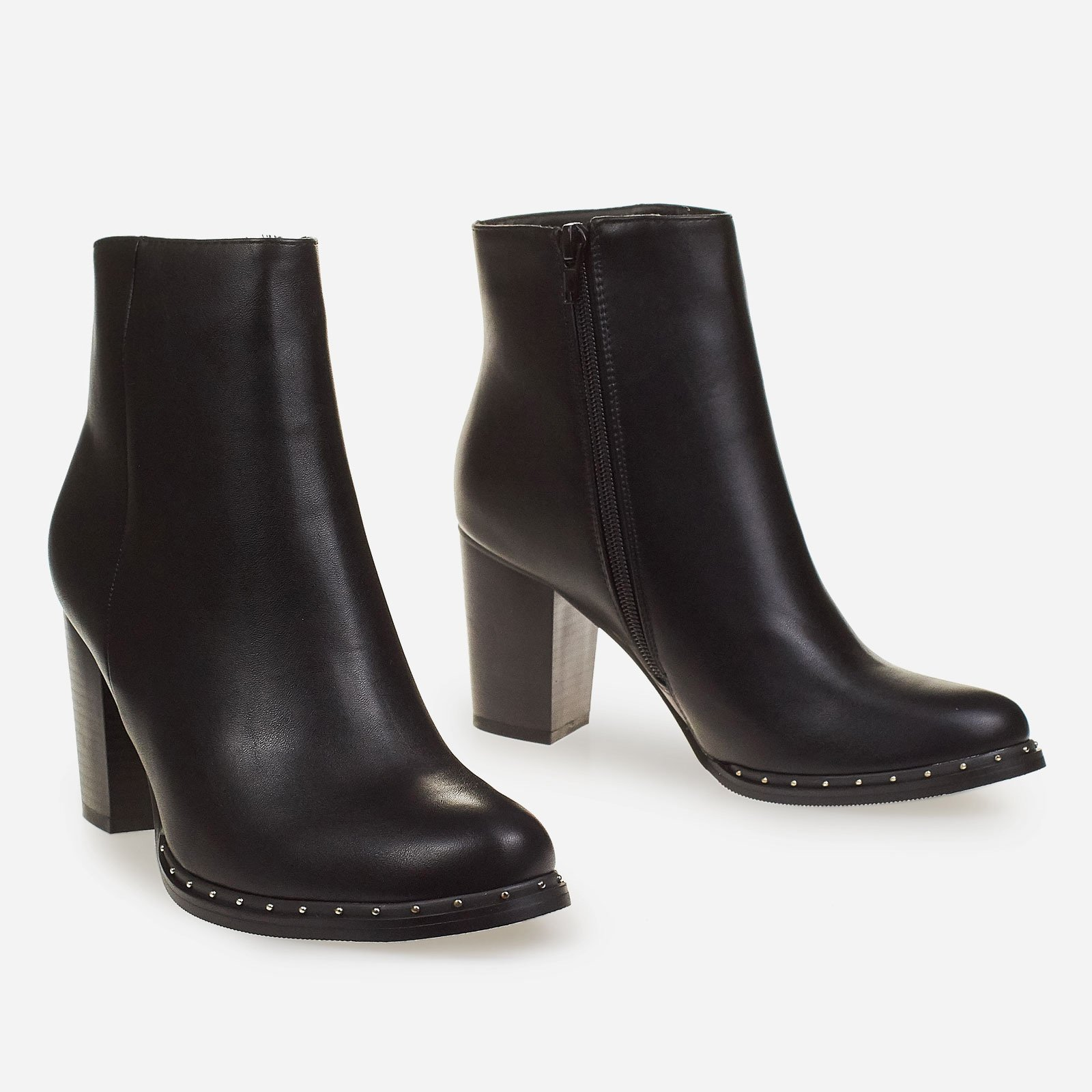Abbie Studded Block Heel Ankle Boot In Black Faux Leather