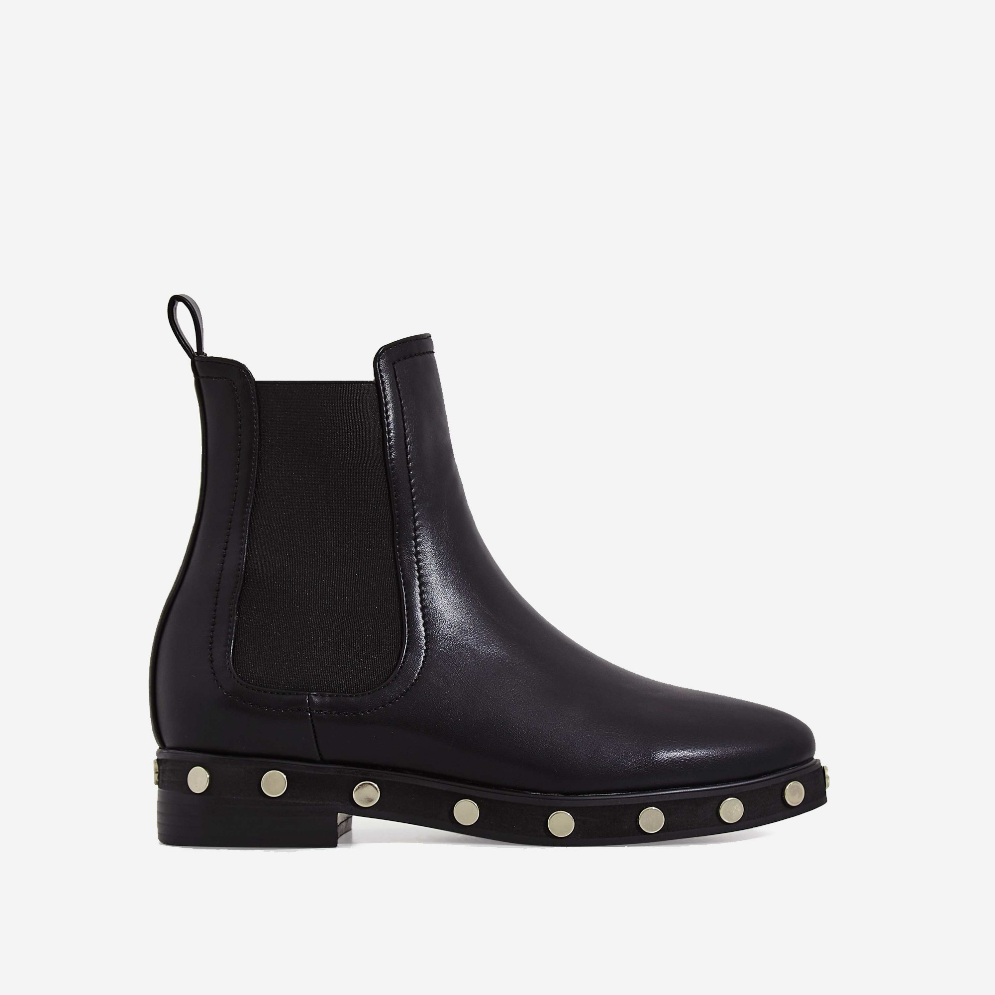 Gabi Studded Detail Ankle Biker Boot In Black Faux Leather