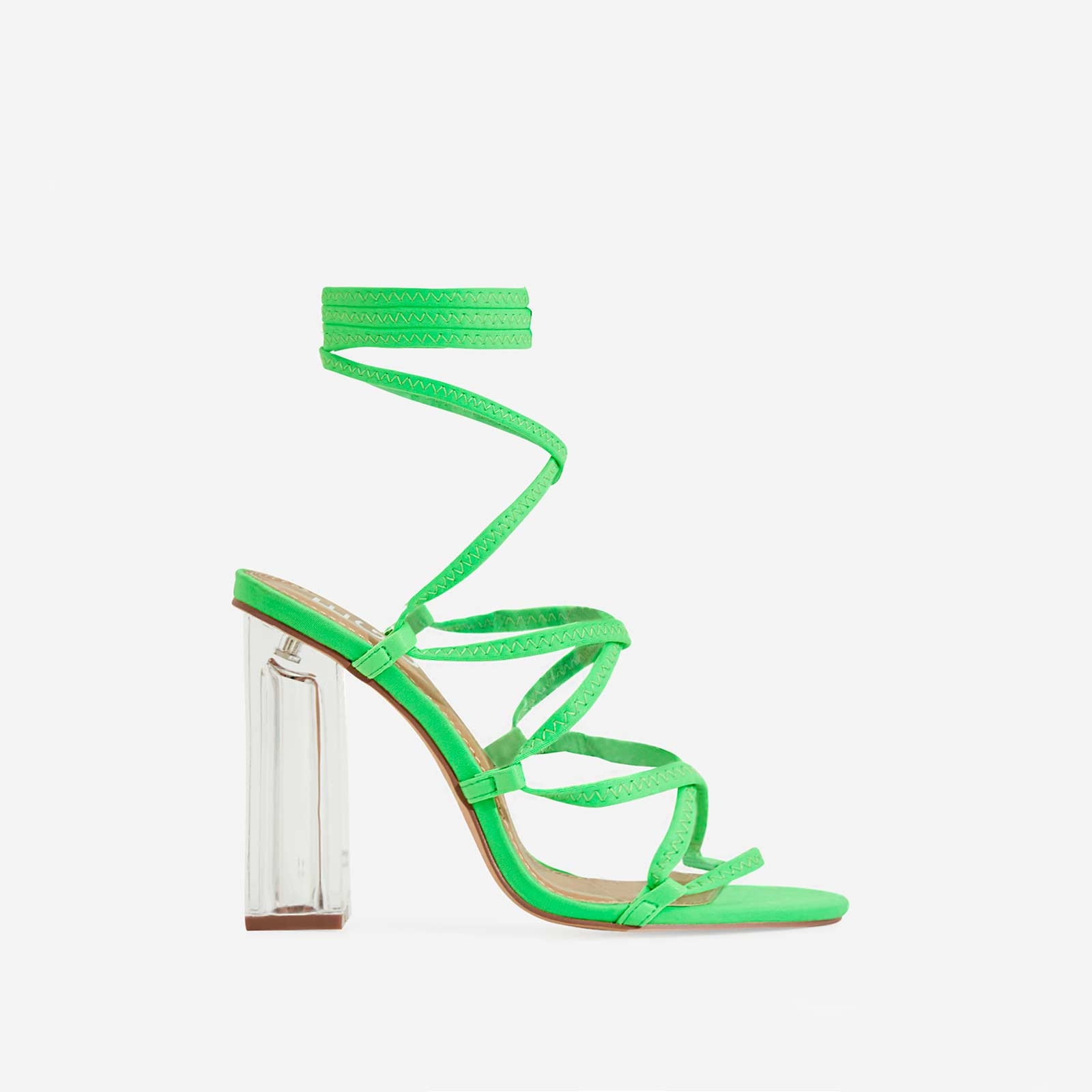 Gamble Perspex Lace Up Block Heel In Lime Green Lycra