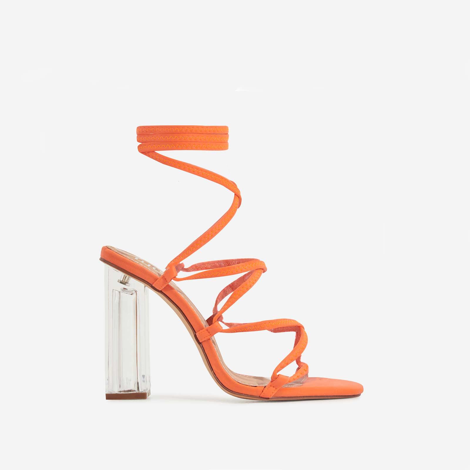 Gamble Perspex Lace Up Block Heel In Neon Orange Lycra