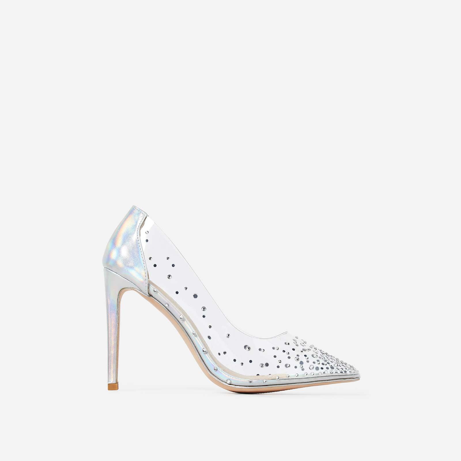Girls Best Friend Diamante Perspex Court Heel In Silver Patent