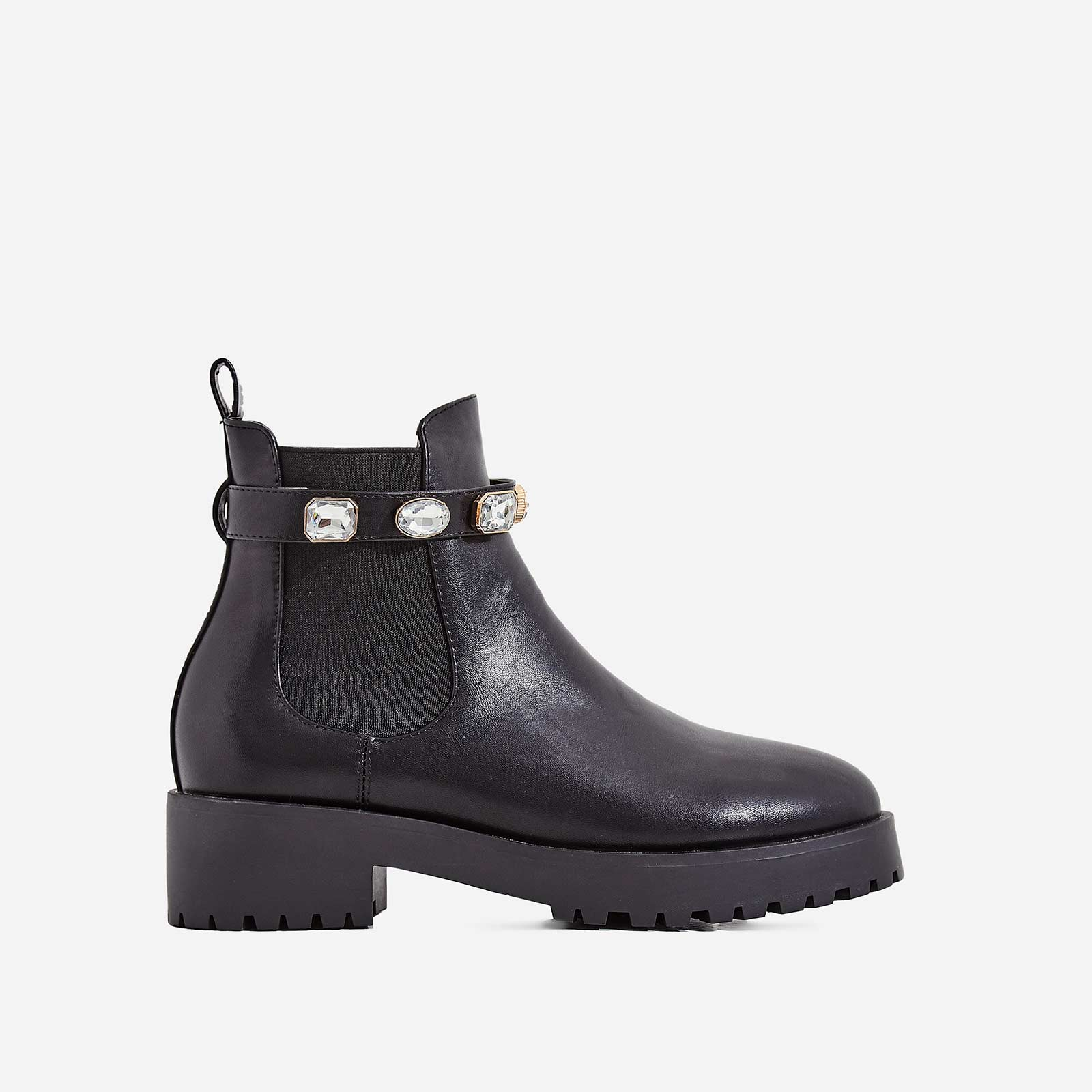 Gem Jewel Detail Strap Ankle Biker Boot In Black Faux Leather