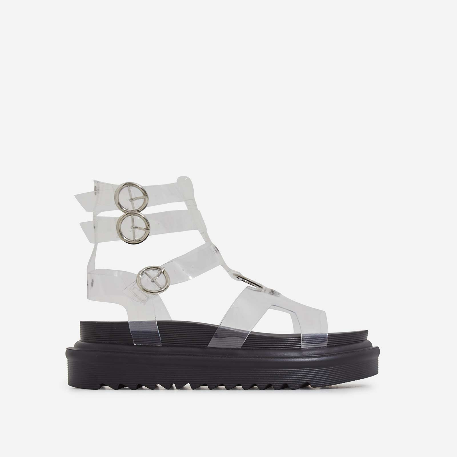Gladys Chunky Sole Gladiator Sandal In Clear Perspex