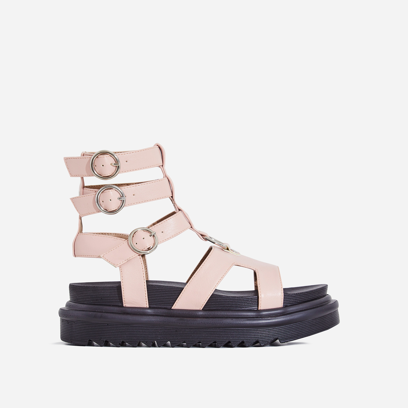Gladys Chunky Sole Gladiator Sandal In Blush Pink Faux Leather