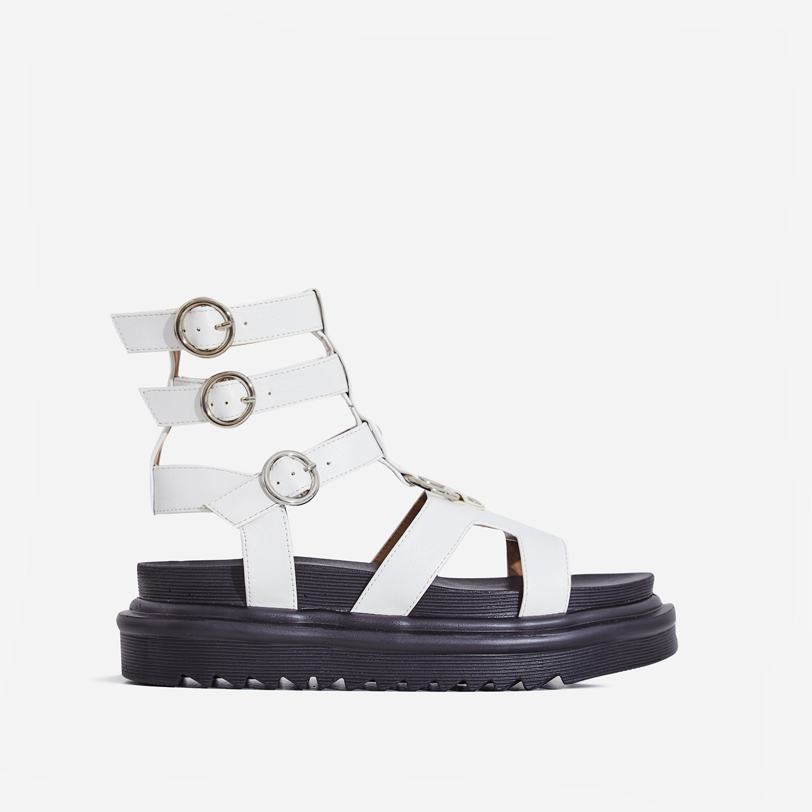 Gladys Chunky Sole Gladiator Sandal In White Faux Leather